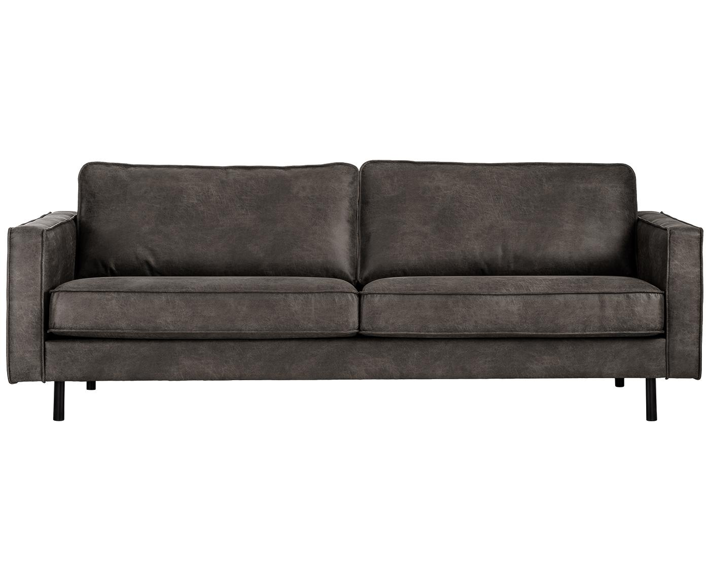 Leder-Sofa Hunter (3-Sitzer), Bezug: 70% recyceltes Leder, 30%, Gestell: Massives Birkenholz und h, Leder Braungrau, B 219 x T 90 cm