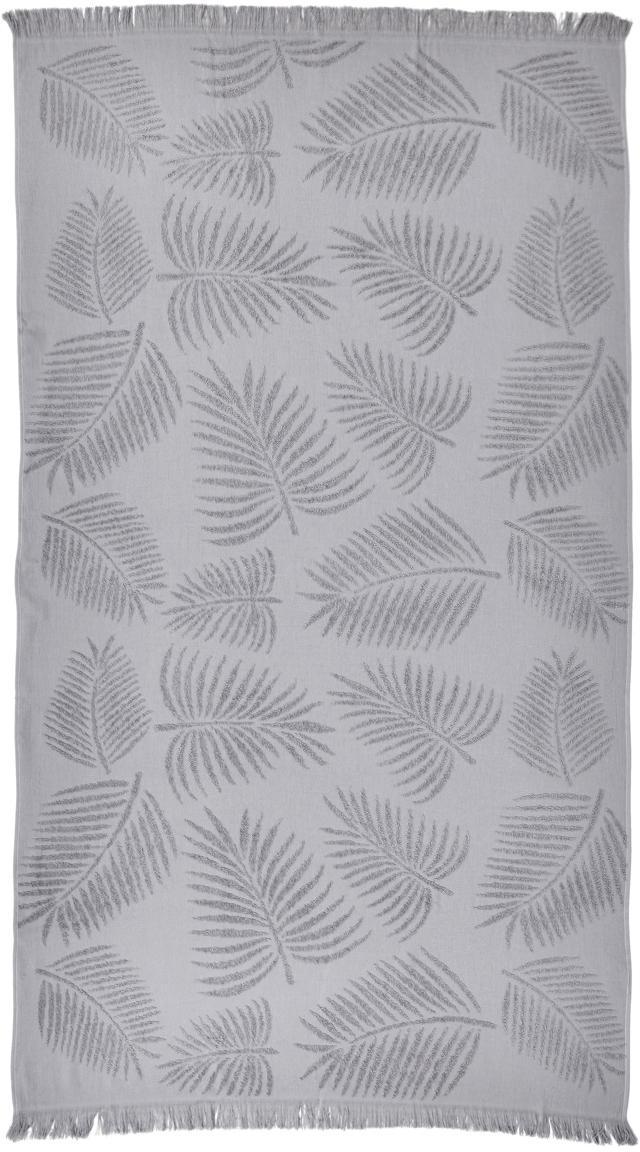Strandtuch Capri Palm Leaves, Silbergrau, 90 x 160 cm
