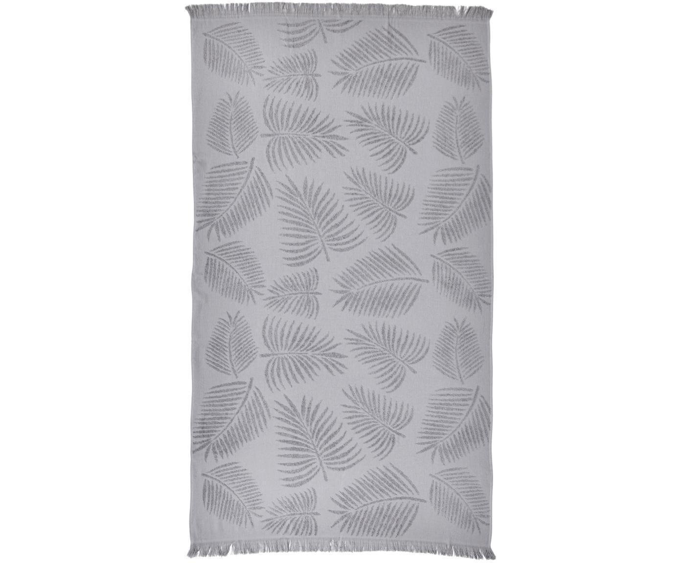 Telo mare in cotone Capri Palm Leaves, Grigio argento, Larg. 90 x Lung. 160 cm