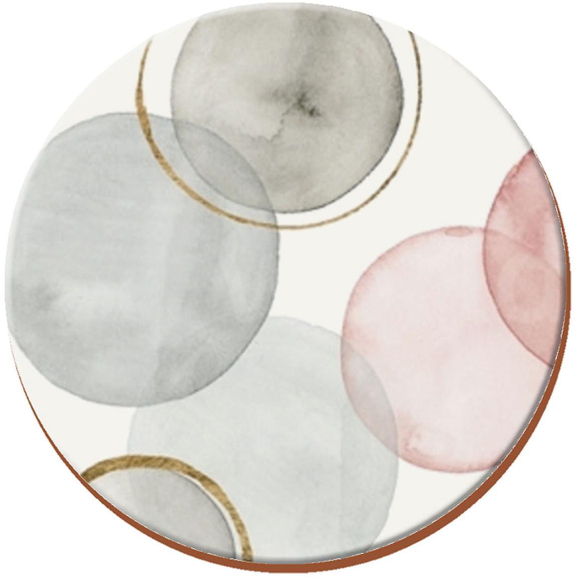 Posavasos Gilded Spheres, 4uds., Corcho, Blanco,gris, rosa, Ø 12 cm