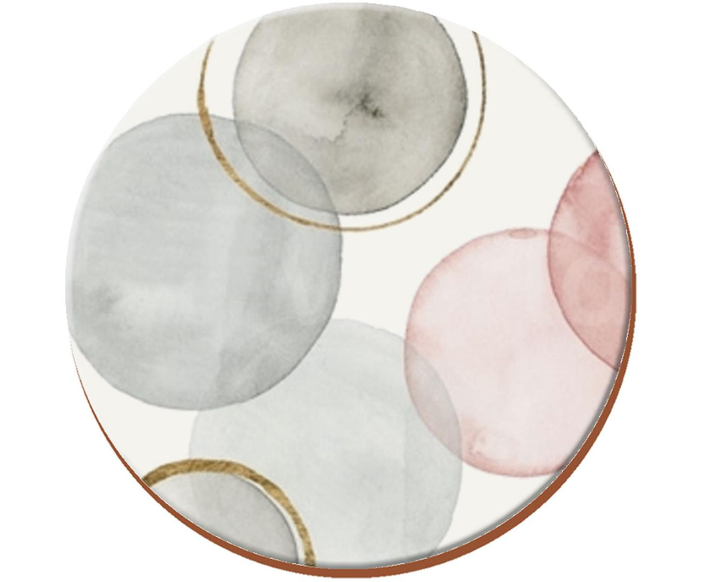 Untersetzer Gilded Spheres, 4 Stück, Kork, Weiss, Grau, Rosa, Ø 12 cm