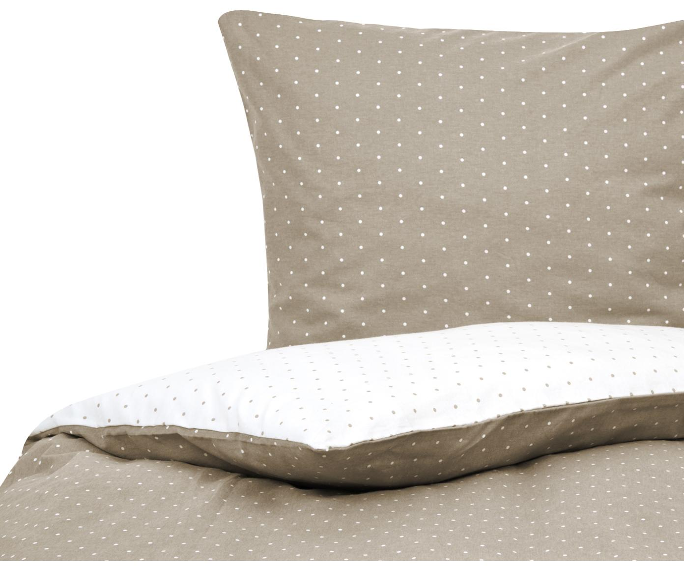 Flanell-Wendebettwäsche Betty, gepunktet, Webart: Flanell Flanell ist ein s, Beige, Weiß, 155 x 220 cm + 1 Kissen 80 x 80 cm