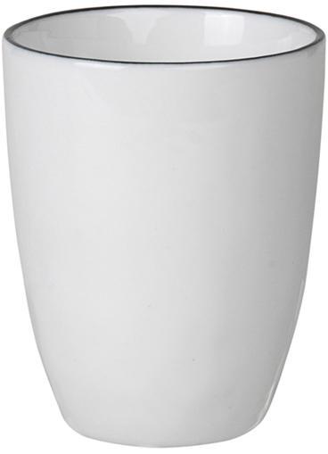Handgemachte Espressobecher Salt mit schwarzem Rand, 4 Stück, Porzellan, Gebrochenes Weiss, Schwarz, Ø 6 x H 8 cm