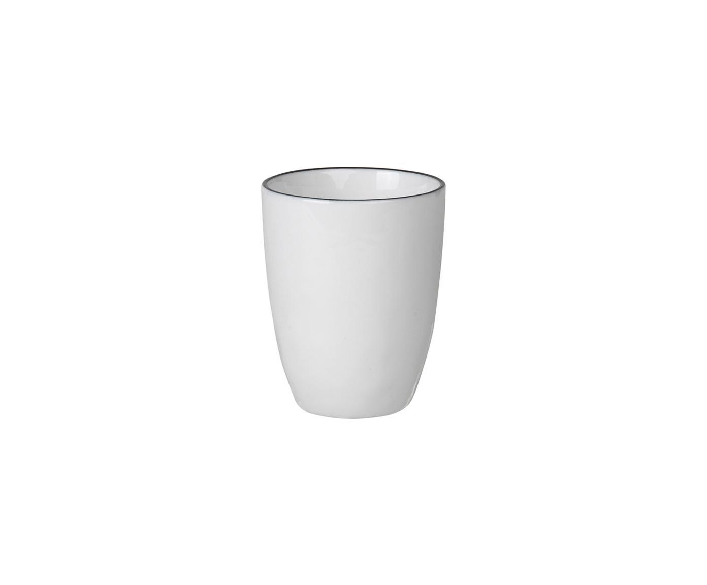 Tazas de café artesanales Salt, 4uds., Porcelana, Blanco crudo, negro, Ø 6 x Al 8 cm