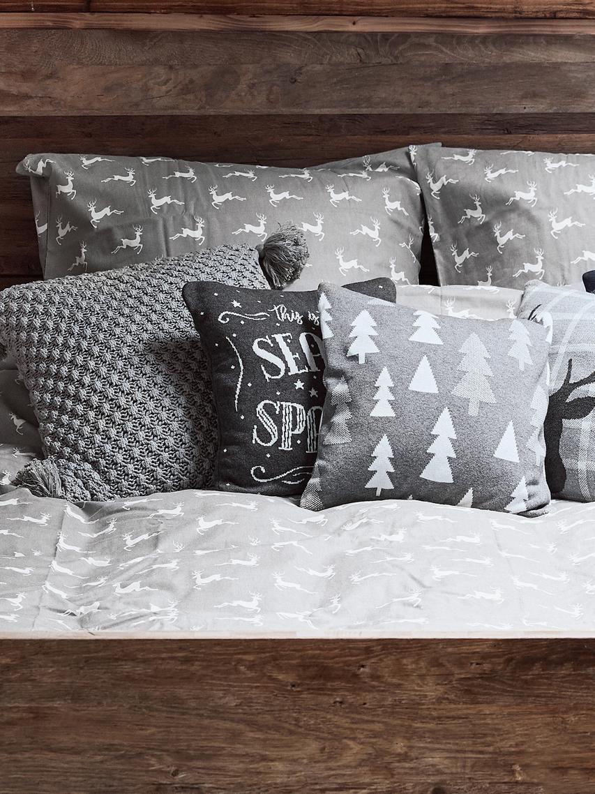 Pościel z flaneli Rudolph, Szary, beżowy, 135 x 200 cm