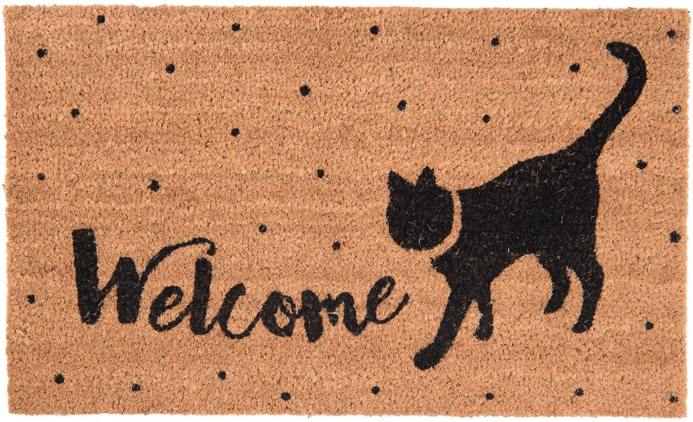 Wycieraczka Welcome Cat, Brązowy, czarny, S 45 x D 75 cm