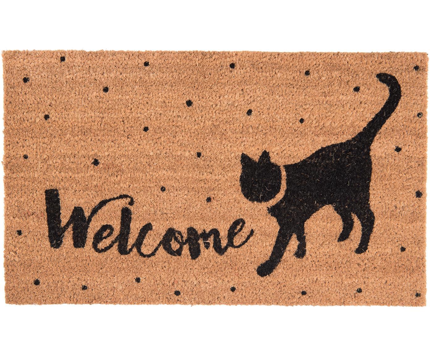 Fußmatte Welcome Cat, Oberseite: Kokosfaser, Unterseite: PVC, Braun, Schwarz, 45 x 75 cm