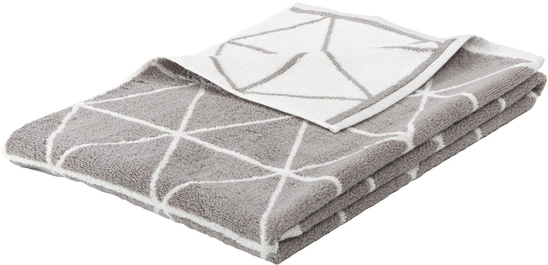 Wende-Handtuch Elina in verschiedenen Grössen, mit grafischem Muster, Taupe, Cremeweiss, Handtuch