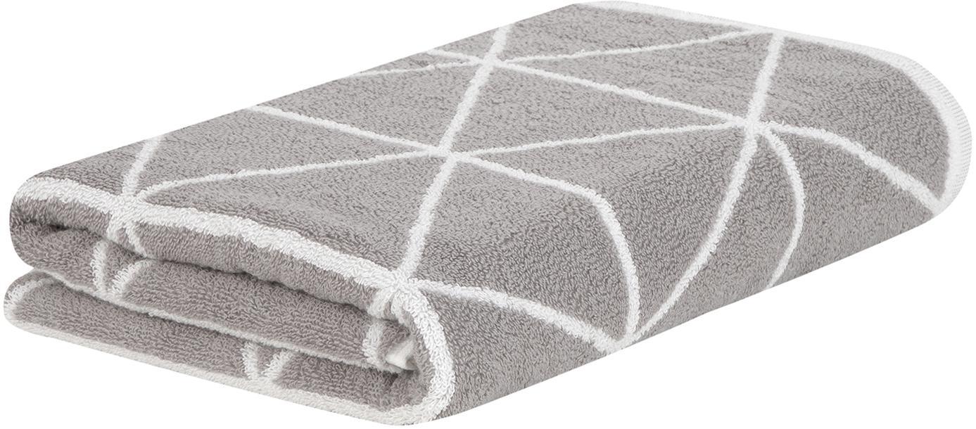 Wende-Handtuch Elina in verschiedenen Größen, mit grafischem Muster, Taupe, Cremeweiß, Handtuch