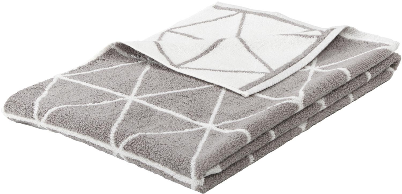 Dubbelzijdige handdoek Elina met grafisch patroon, Taupe, crèmewit, Handdoek