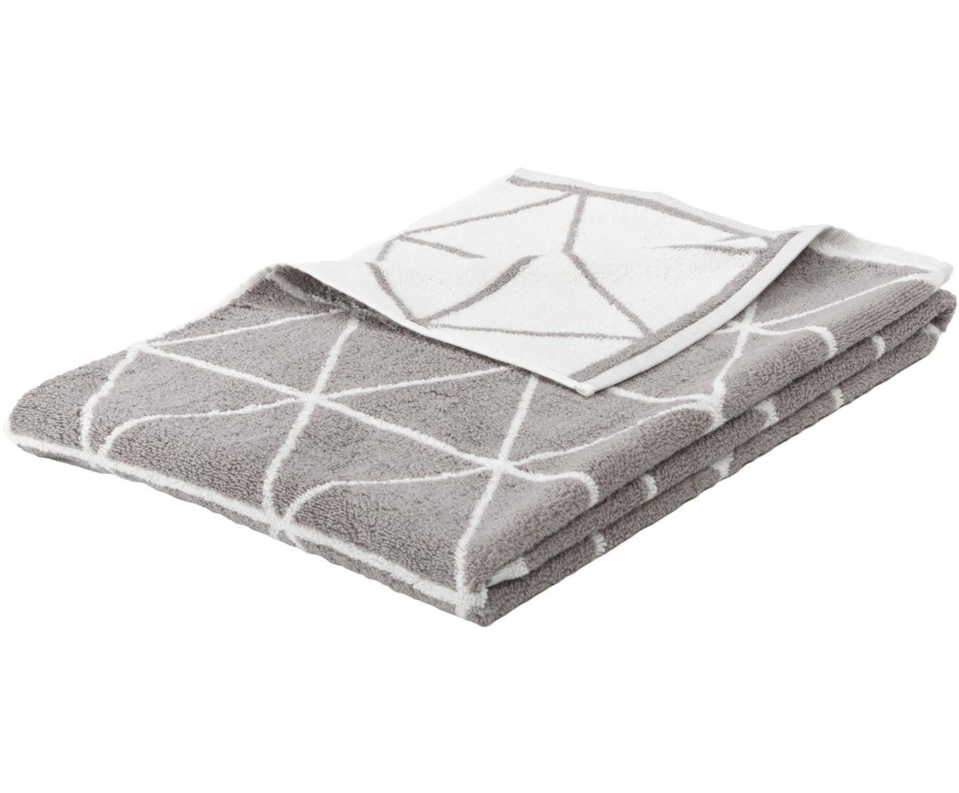 Wende-Handtuch Elina mit grafischem Muster, Taupe, Cremeweiß, Handtuch