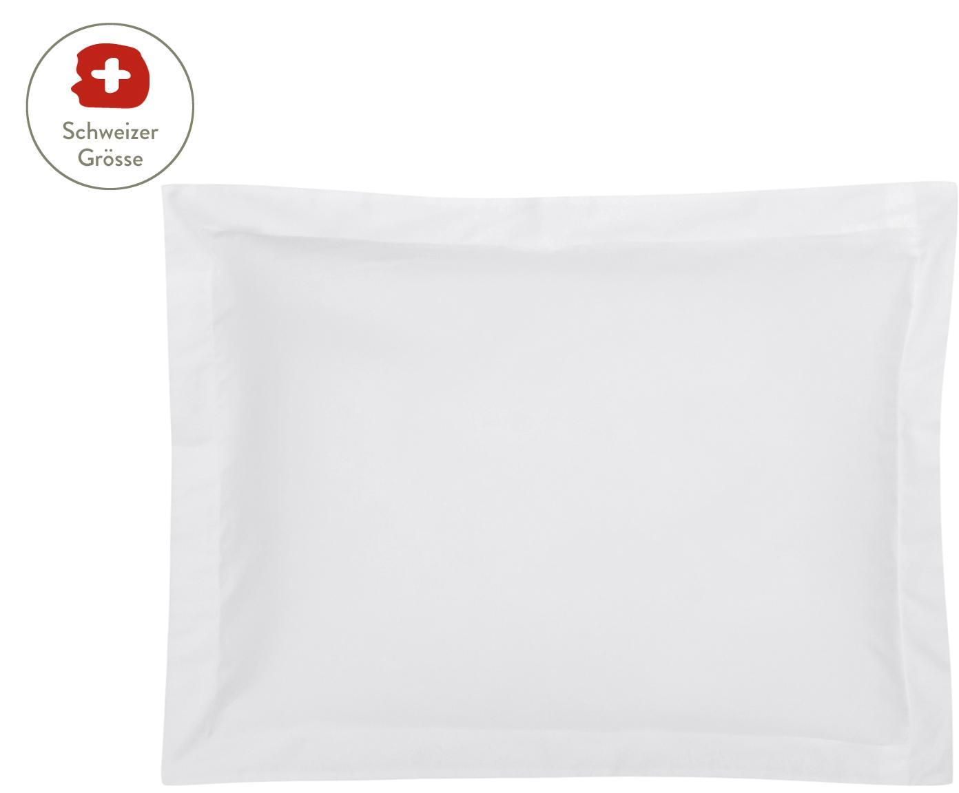 Baumwollsatin-Kissenbezug Premium in Weiss mit Stehsaum, Webart: Satin, leicht glänzend Fa, Weiss, 50 x 70 cm