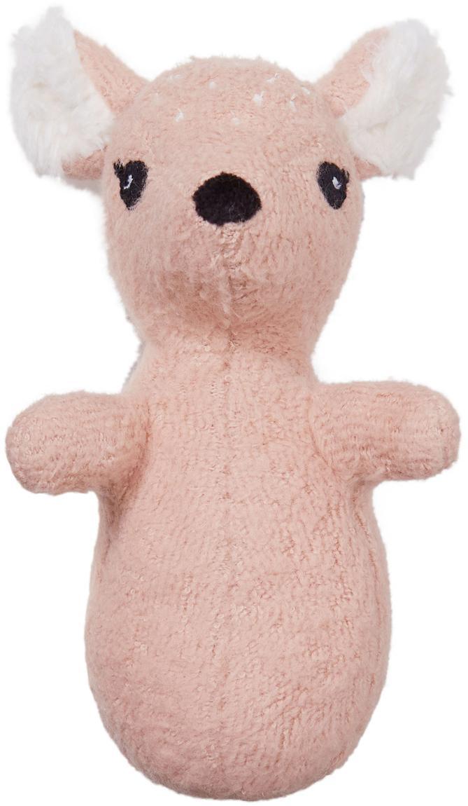 Rassel Fawn aus Bio-Baumwolle, Bezug: Bio-Baumwolle, GOTS-zerti, Weiß, Rosa, Schwarz, 8 x 13 cm
