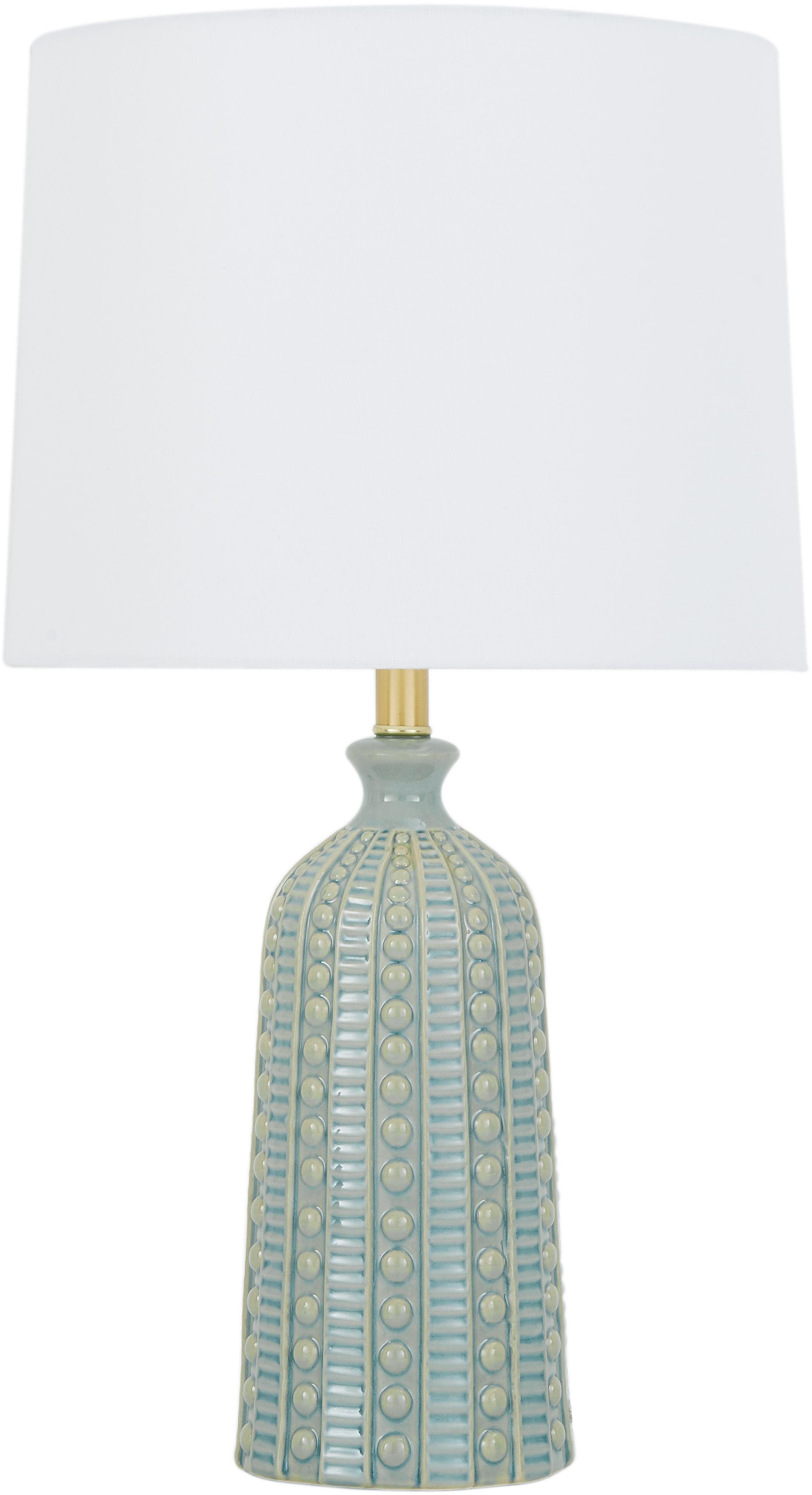 Grosse Keramik-Tischlampe Nizza in Salbeigrün, Lampenschirm: Textil, Salbeigrün, Ø 33 x H 60 cm