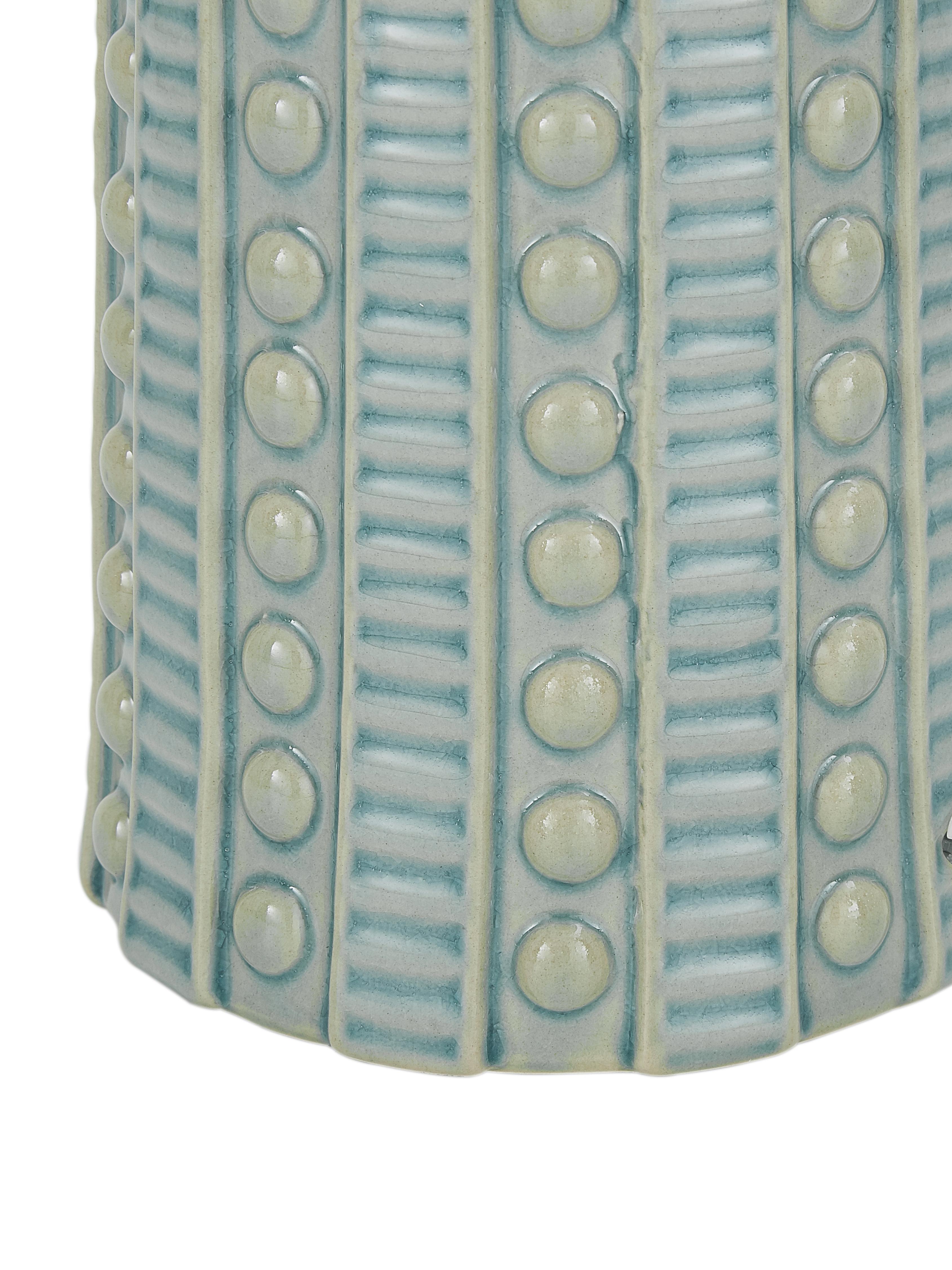 Große Keramik-Tischlampe Nizza in Salbeigrün, Lampenschirm: Textil, Lampenfuß: Keramik, Salbeigrün, Ø 35 x H 60 cm