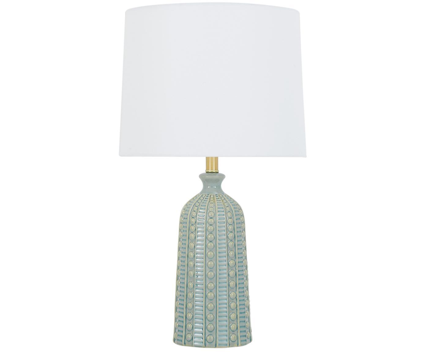 Lámpara de mesa Nizza, Pantalla: tela, Cable: plástico, Verde salvia, Ø 35 x Al 60 cm