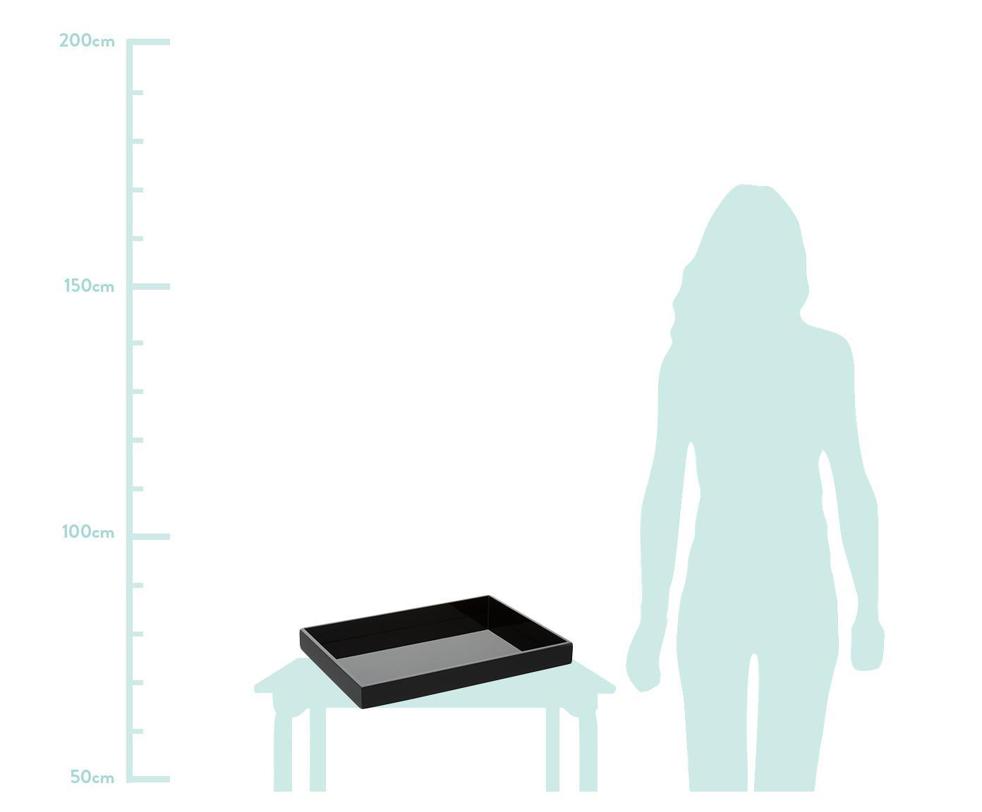 Vassoio in nero lucido Hayley, Vassoio: pannello di fibra a media, Grigio chiaro, fondo: grigio chiaro, Larg. 50 x Prof. 35 cm
