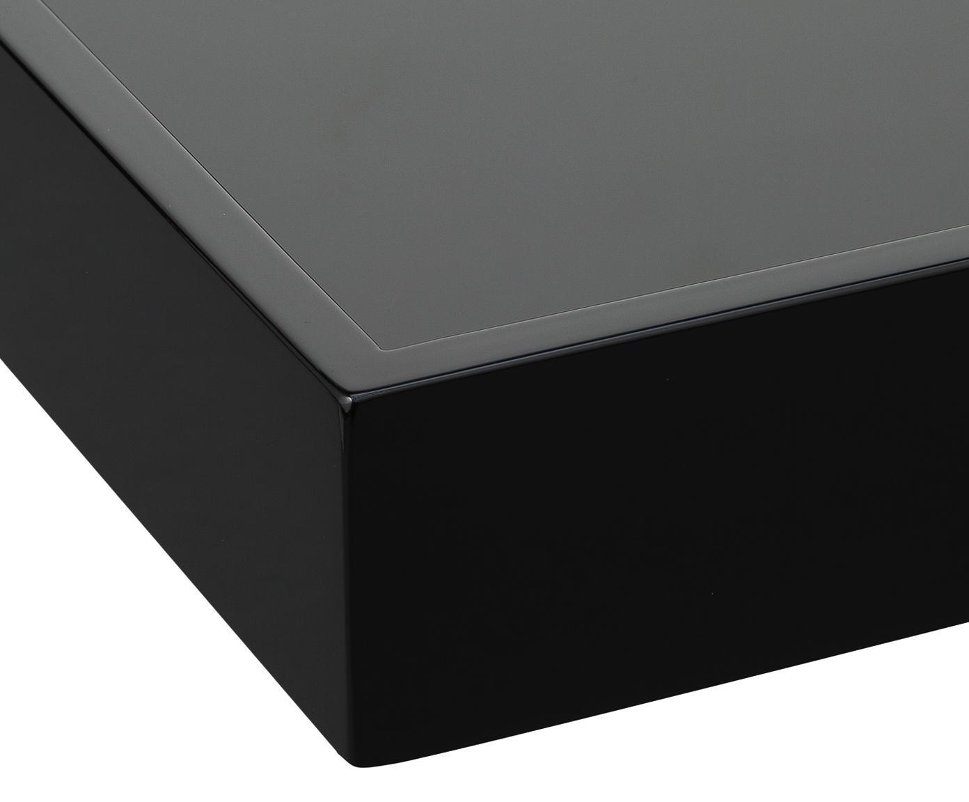 Hochglanz-Tablett Hayley in Schwarz, Tablett: Mitteldichte Holzfaserpla, Unterseite: Samt, Schwarz, Unterseite: Schwarz, B 50 x T 35 cm