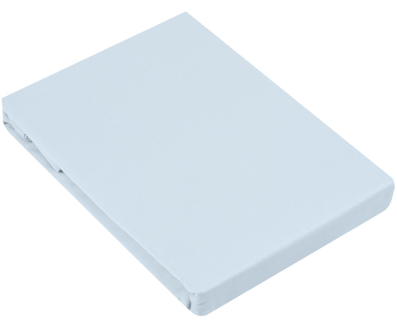Lenzuolo con angoli in raso di cotone Comfort, Azzurro, Larg. 180 x Lung. 200 cm