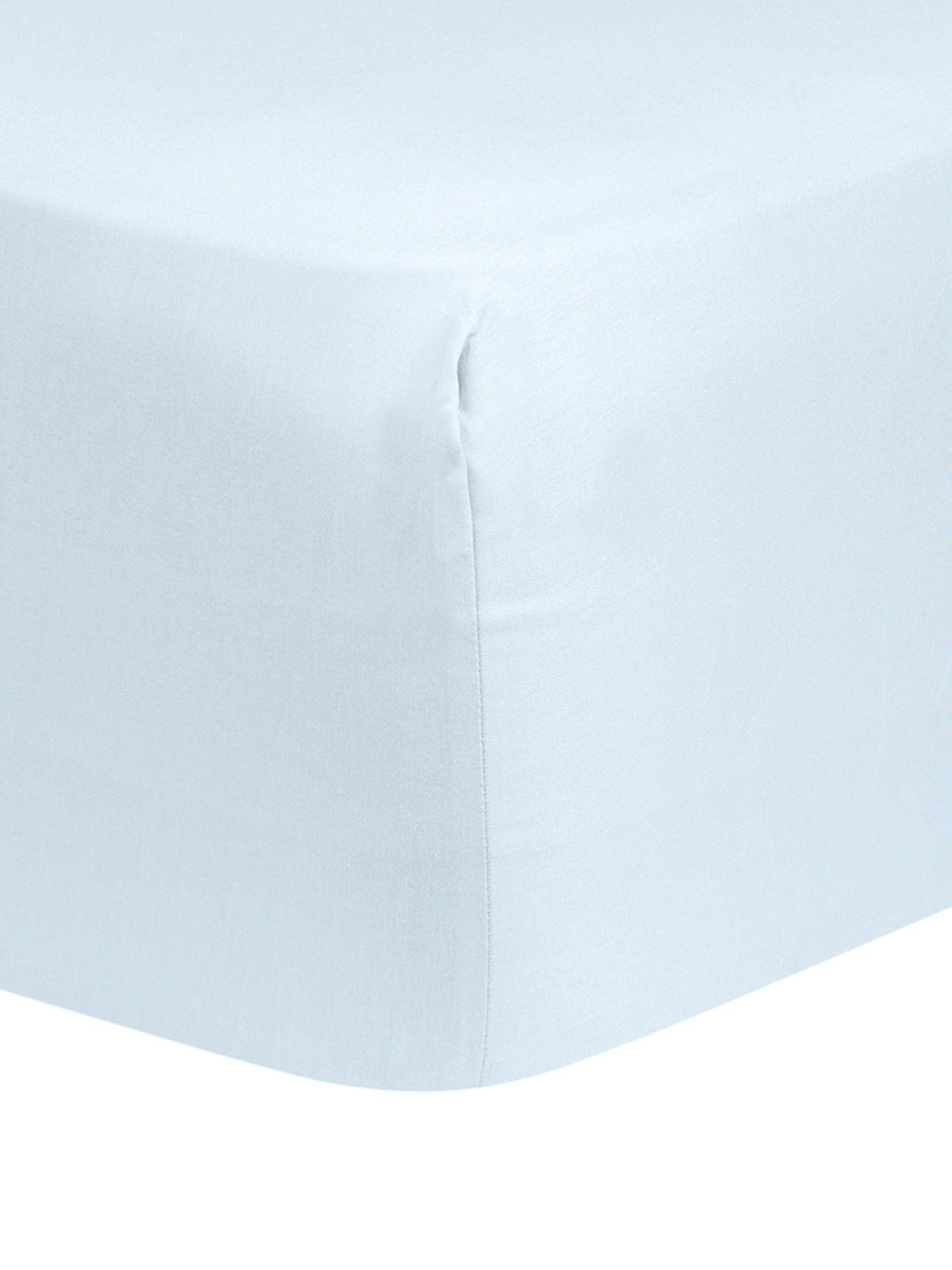 Spannbettlaken Comfort, Baumwollsatin, Webart: Satin, leicht glänzend, Hellblau, 180 x 200 cm