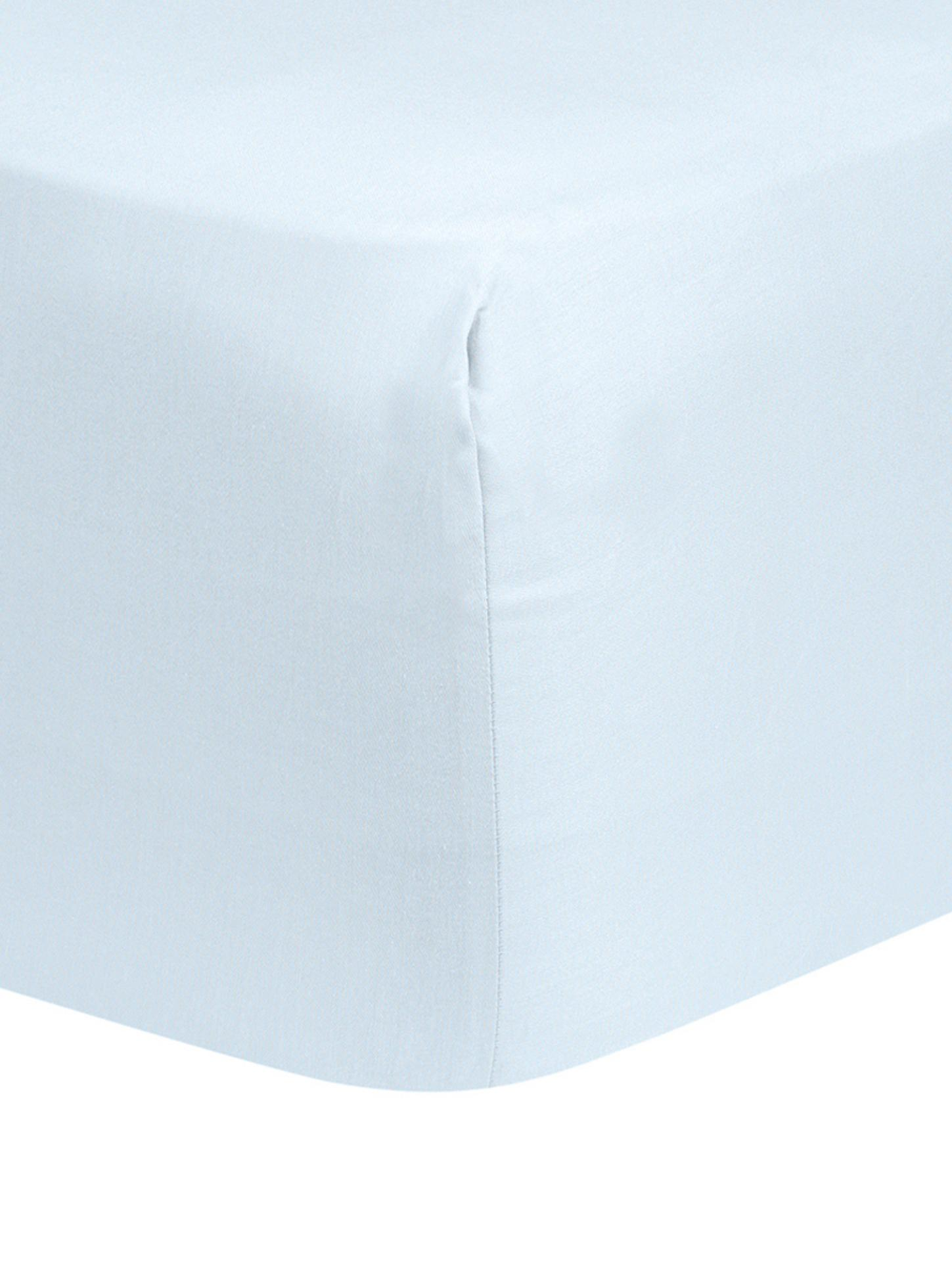Lenzuolo con angoli in raso di cotone Comfort, Azzurro, Larg. 90 x Lung. 200 cm