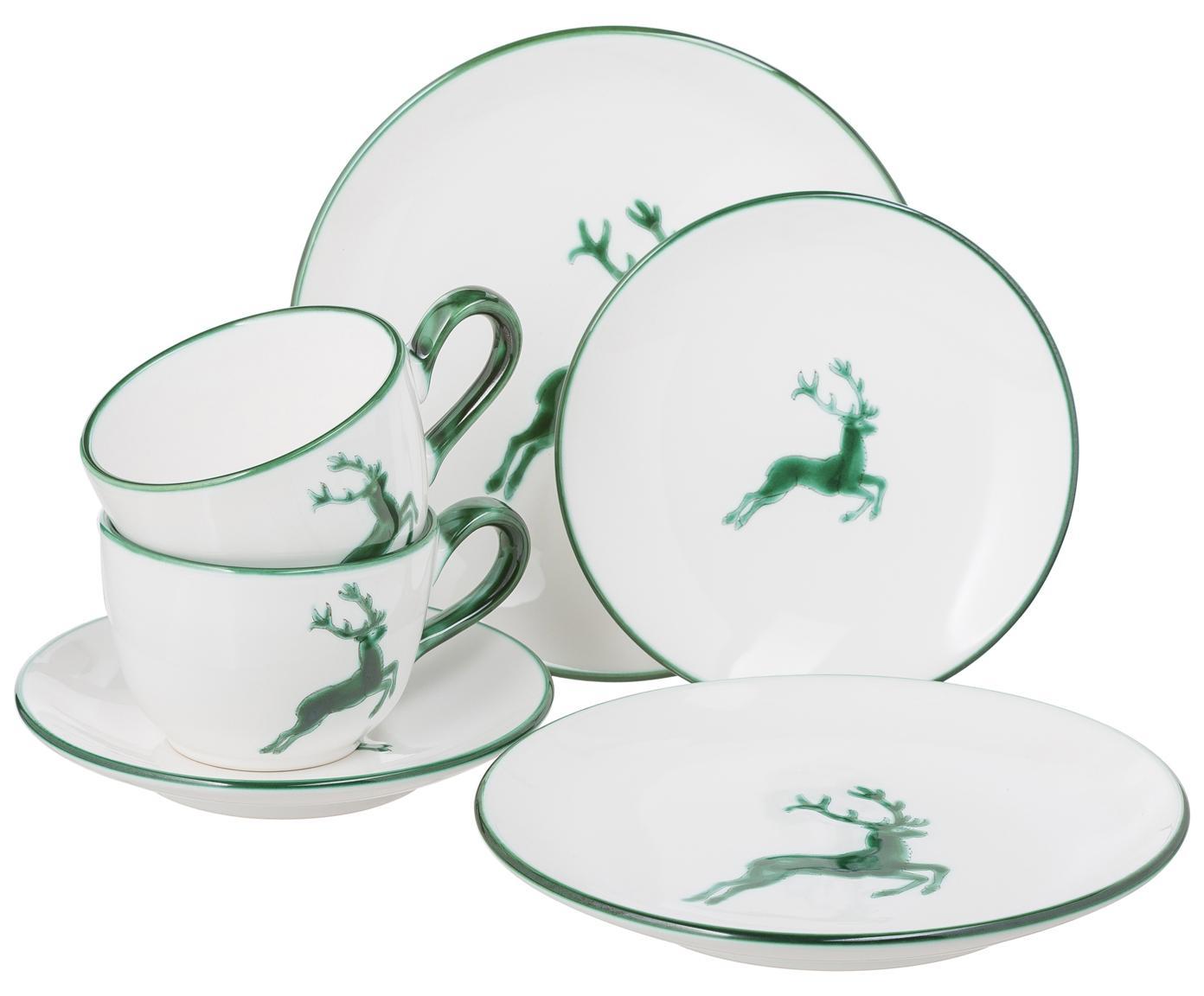 Ręcznie malowany serwis do kawy Classic Grüner Hirsch, 6 elem., Ceramika, Zielony, biały, Różne rozmiary