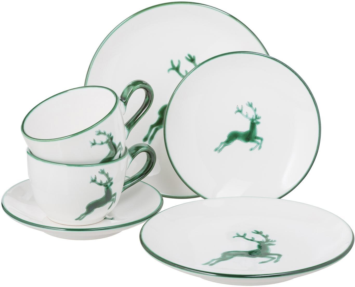 Koffieservies Classic Groene Hert, 2 personen (6-delig), Keramiek, Groen, wit, Set met verschillende formaten