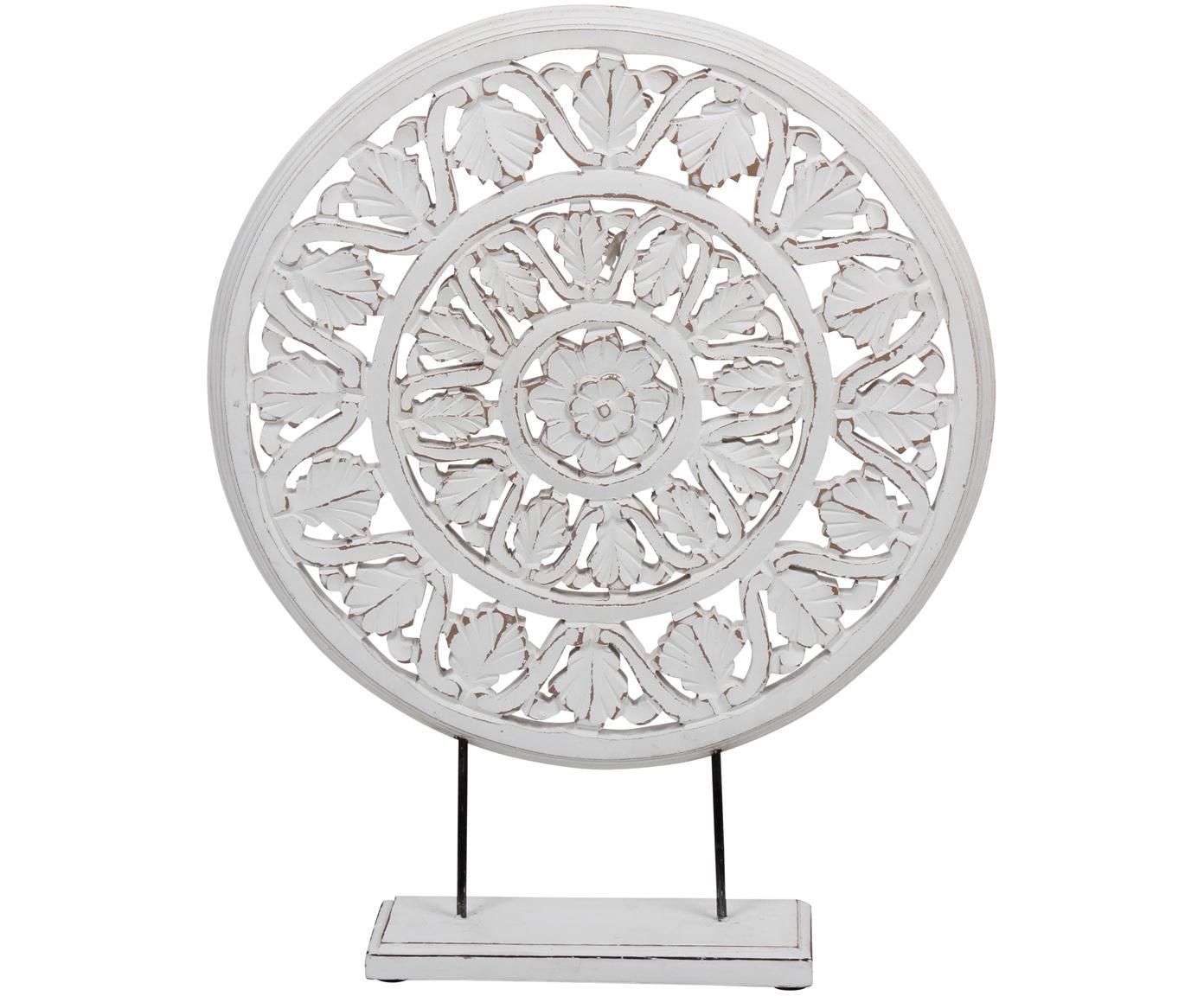 Decoratief object Brahma, Hout, Wit met antieke afwerking, 40 x 50 cm
