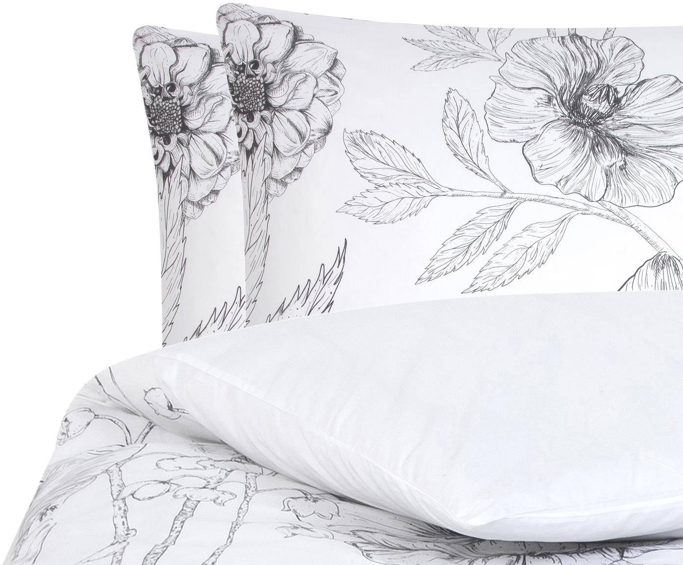 Baumwollperkal-Bettwäsche Keno mit Blumenprint, Webart: Perkal Fadendichte 180 TC, Weiß, Grau, 200 x 200 cm + 2 Kissen 80 x 80 cm