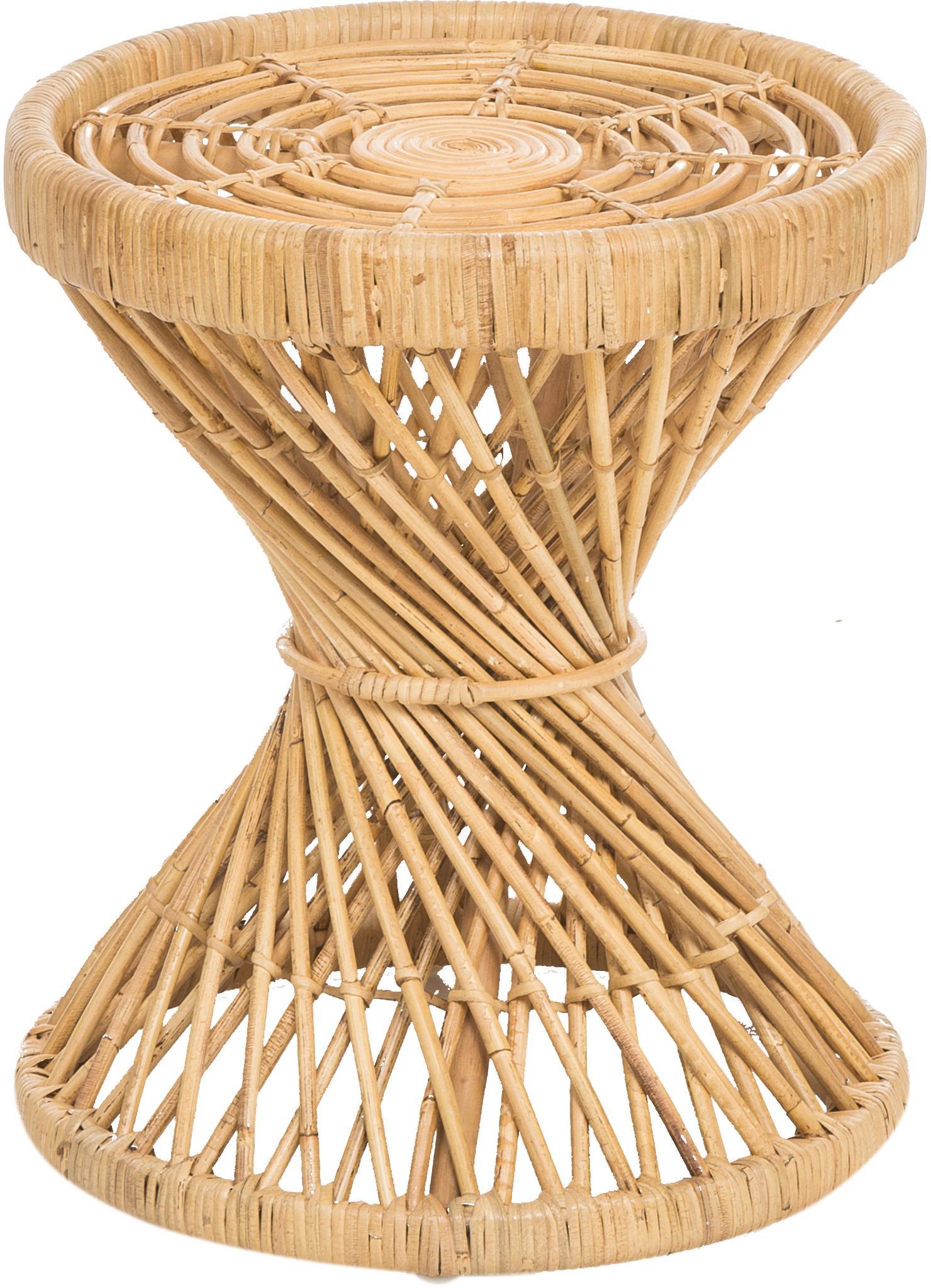 Rattan-Beistelltisch Marvel im Boho Style, Rattan, naturbelassen, Braun, Ø 40 x H 47 cm