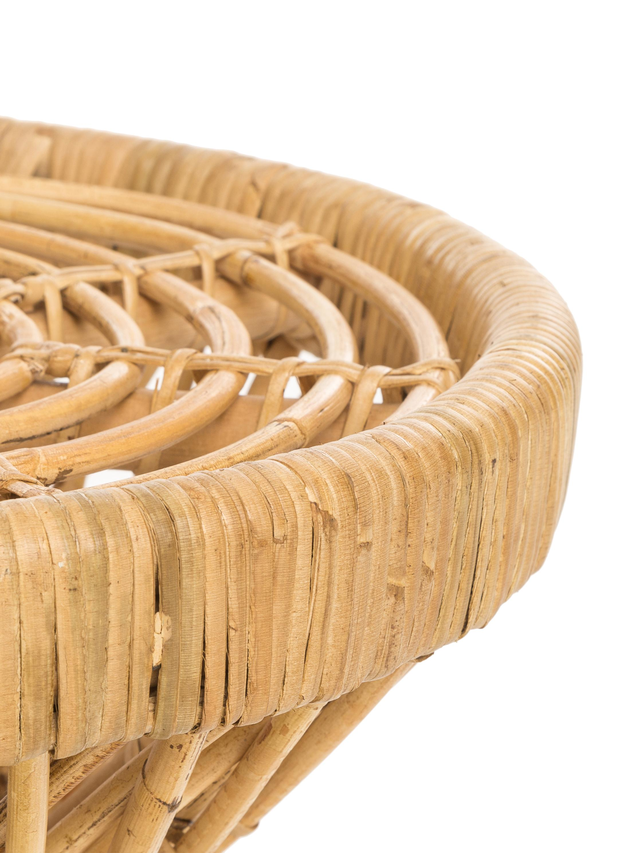 Mesa auxiliar de ratán Marvel, estilo boho, Ratán, natural, Ratán, Ø 40 x Al 47 cm