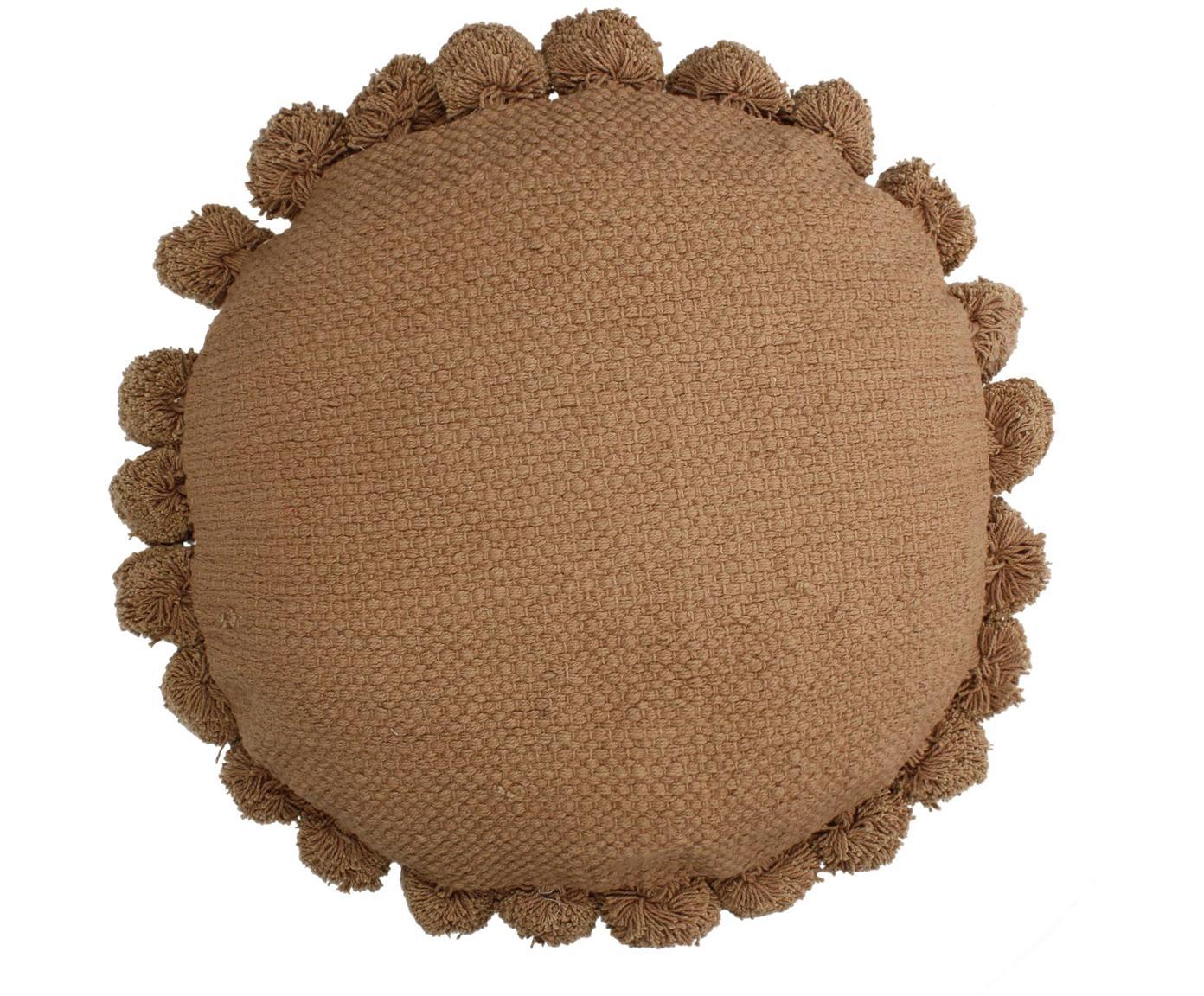 Cojín redondo con pompones Betta, con relleno, Funda: 100%algodón, Melocotón, Ø 45 cm