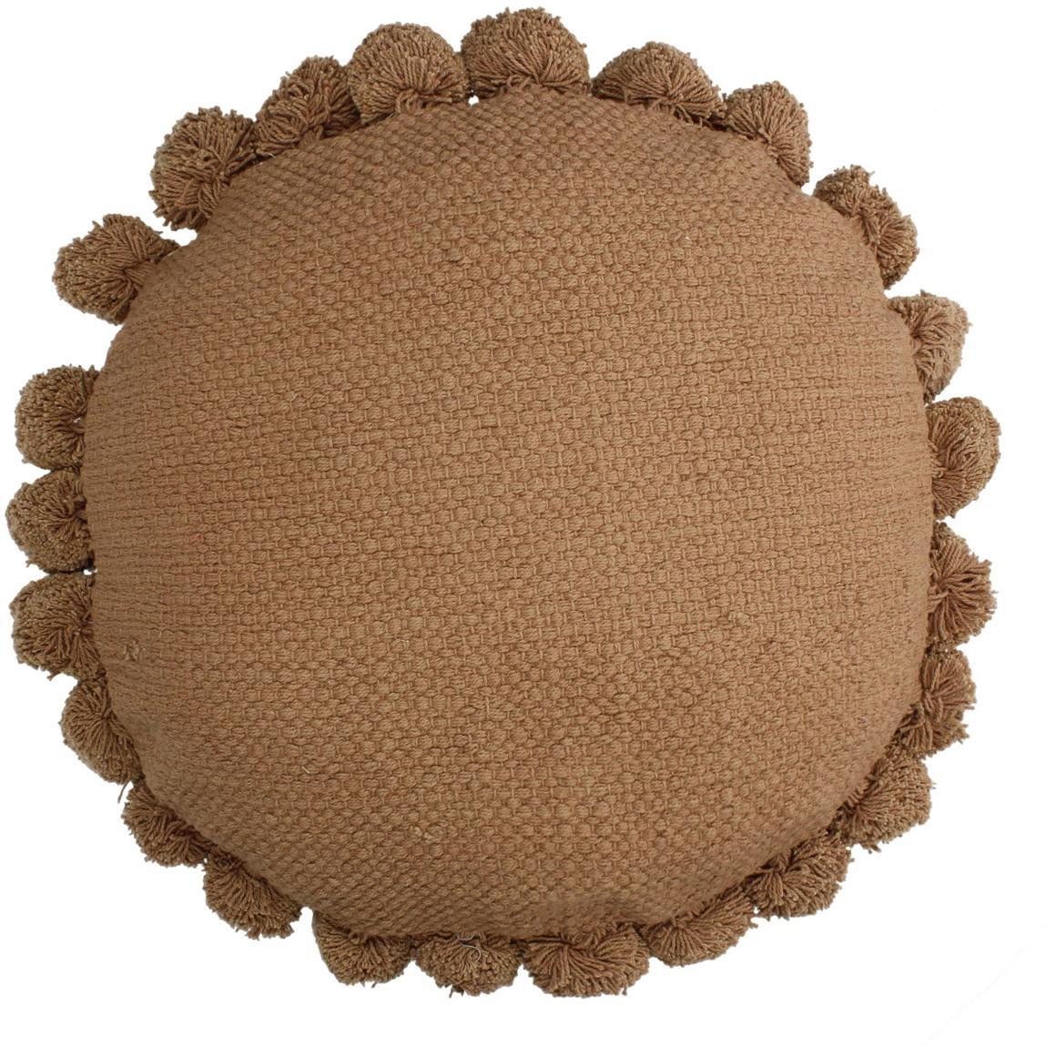 Cuscino rotondo con imbottitura e pompon Betta, Pesca, Ø 45 cm