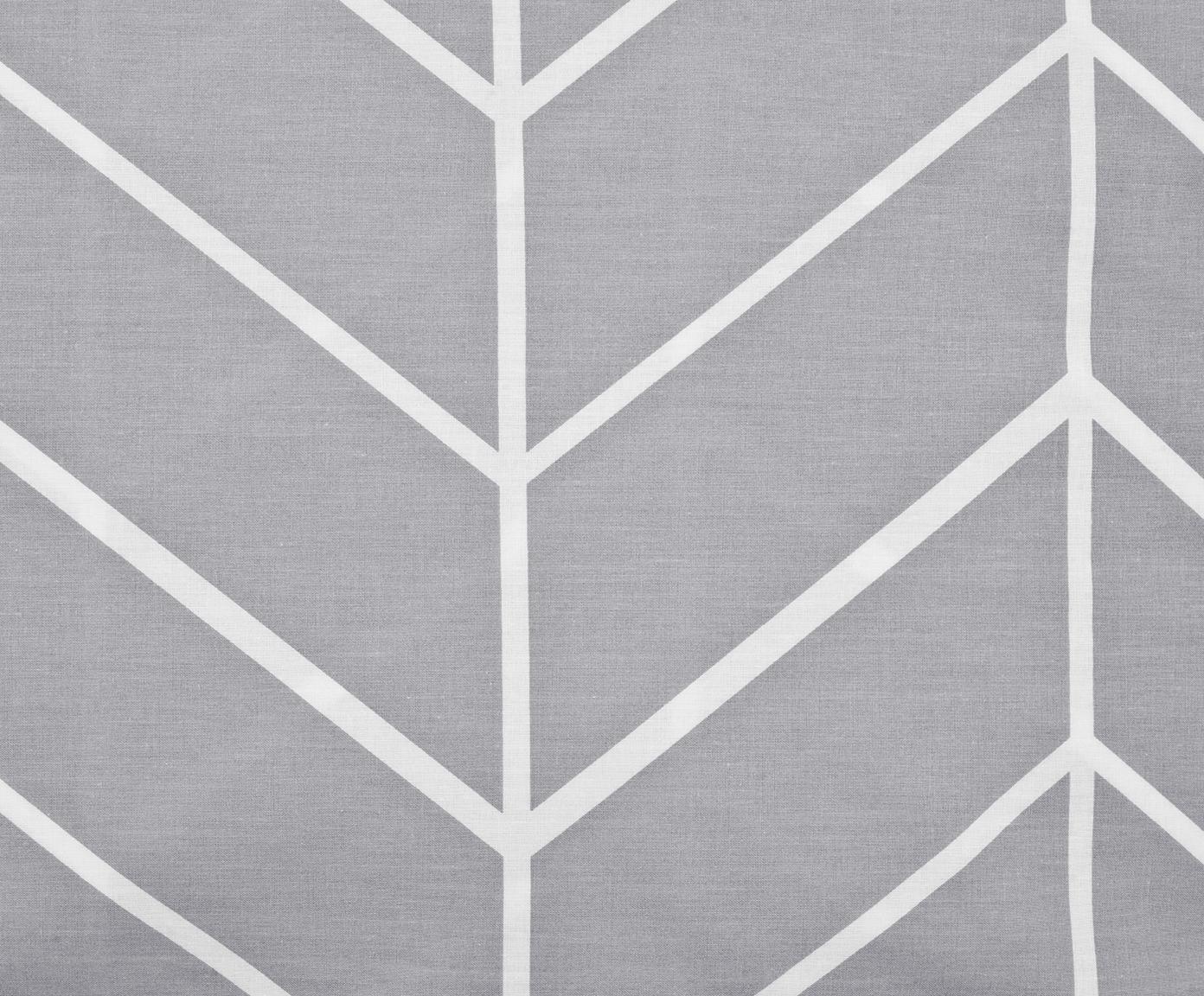 Baumwoll-Bettwäsche Mirja mit grafischem Muster, Webart: Renforcé Fadendichte 144 , Grau, Cremeweiß, 135 x 200 cm + 1 Kissen 80 x 80 cm