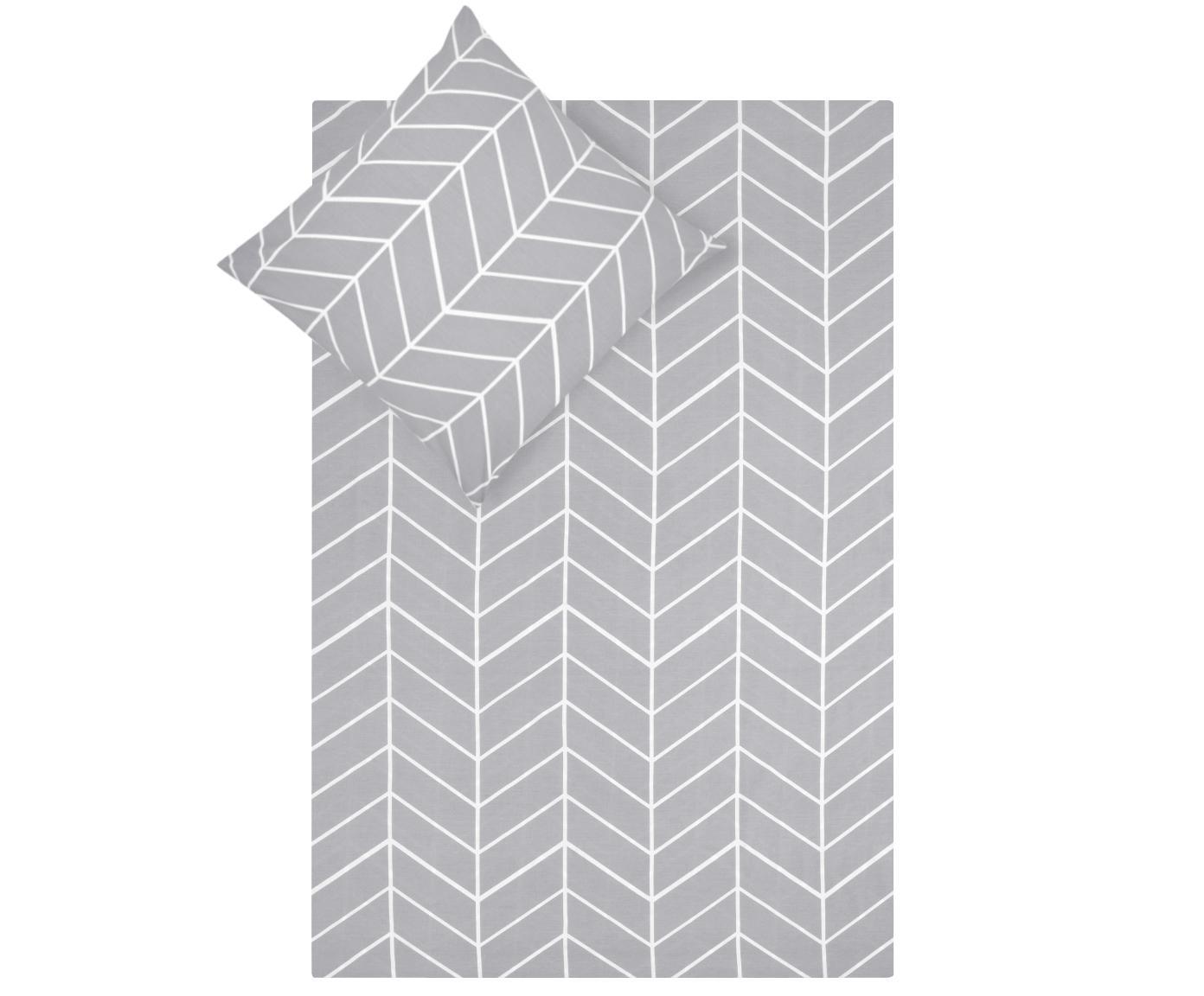 Pościel z bawełny renforcé Mirja, Szary, kremowobiały, 135 x 200 cm