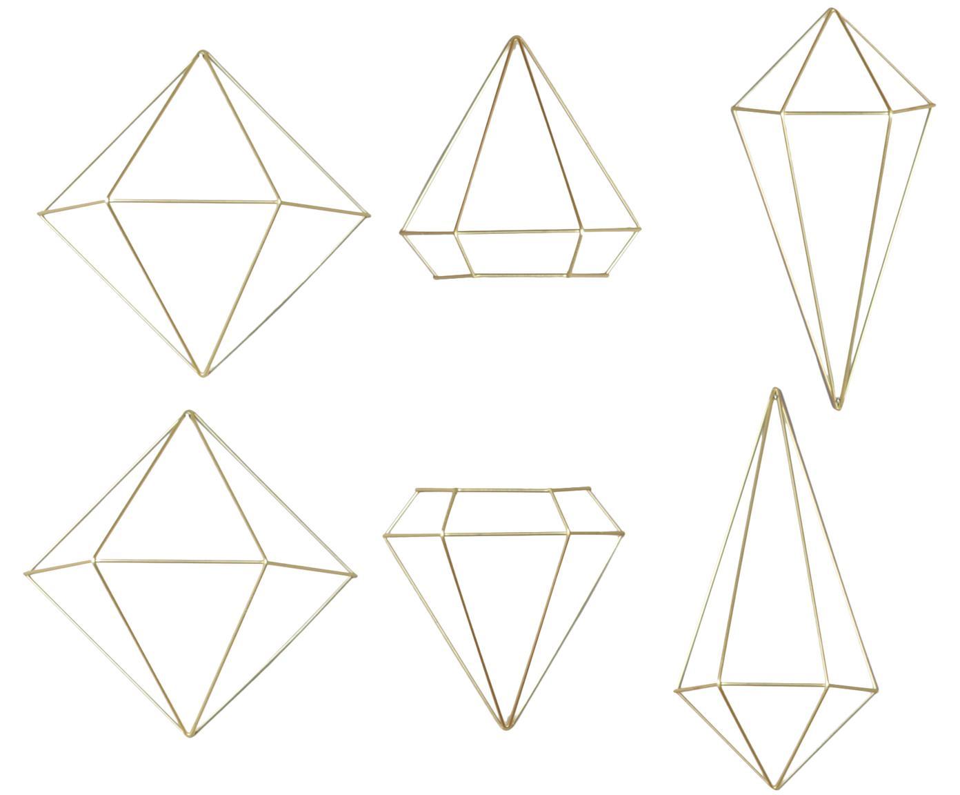 Komplet dekoracji ściennych z metalu lakierowanego Prisma, 6 elem., Metal lakierowany, Odcienie mosiądzu, Różne rozmiary