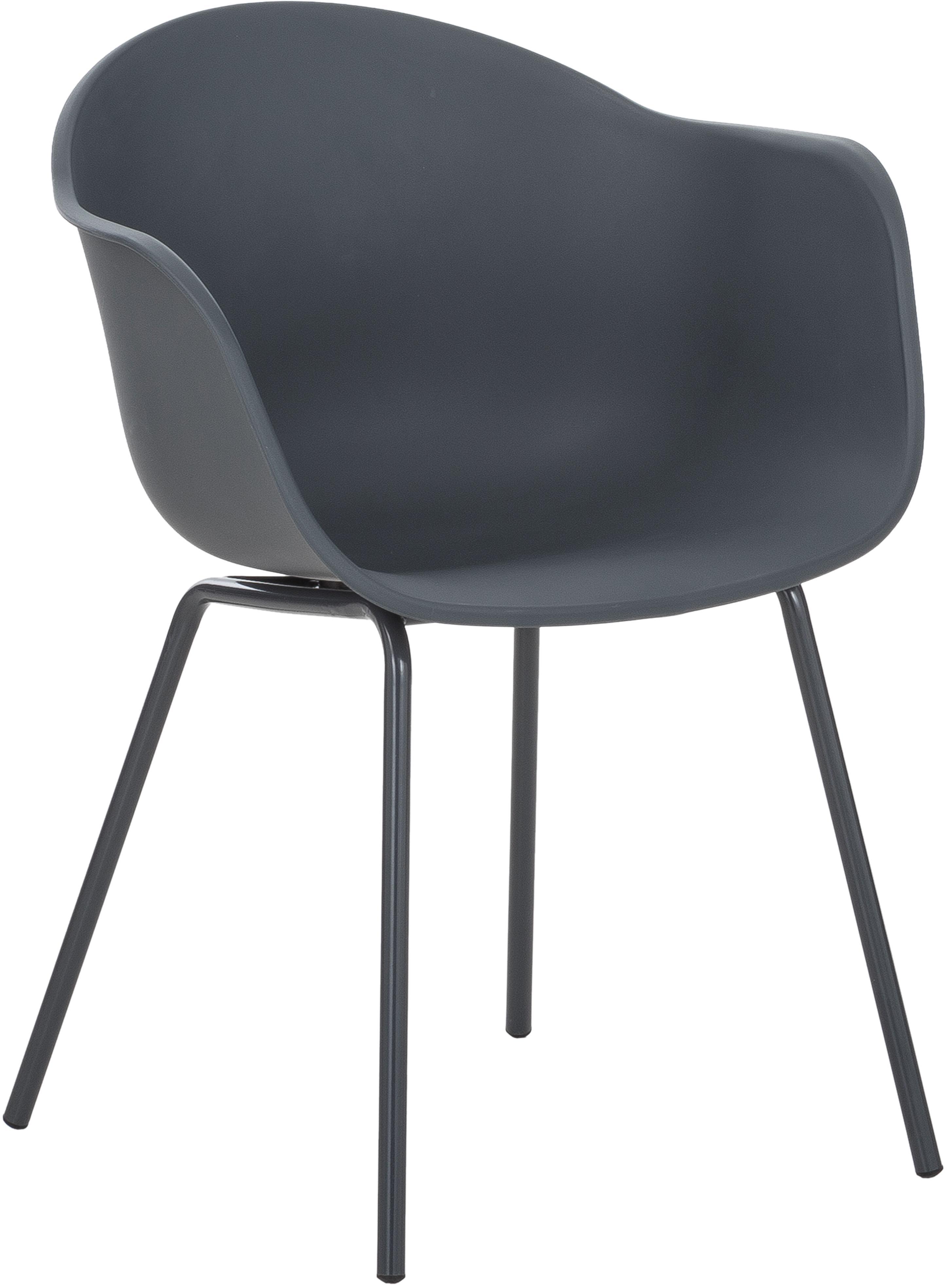 Kunststoff-Armlehnstuhl Claire mit Metallbeinen, Sitzschale: Kunststoff, Beine: Metall, pulverbeschichtet, Grau, B 54 x T 60 cm