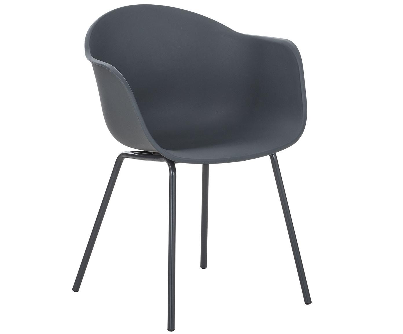 Sedia con braccioli in plastica con gambe in metallo Claire, Seduta: materiale sintetico, Gambe: metallo verniciato a polv, Grigio, Larg. 54 x Prof. 60 cm