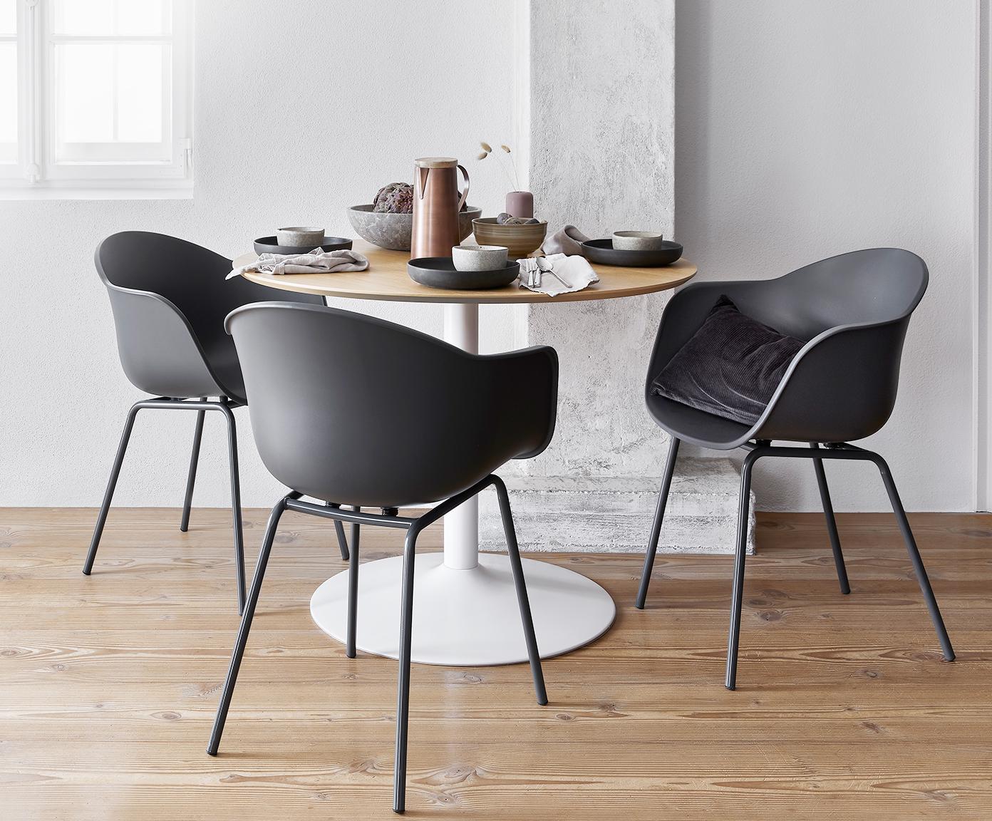 Krzesło z podłokietnikami z tworzywa sztucznego Claire, Nogi: metal malowany proszkowo, Szary, S 54 x G 60 cm