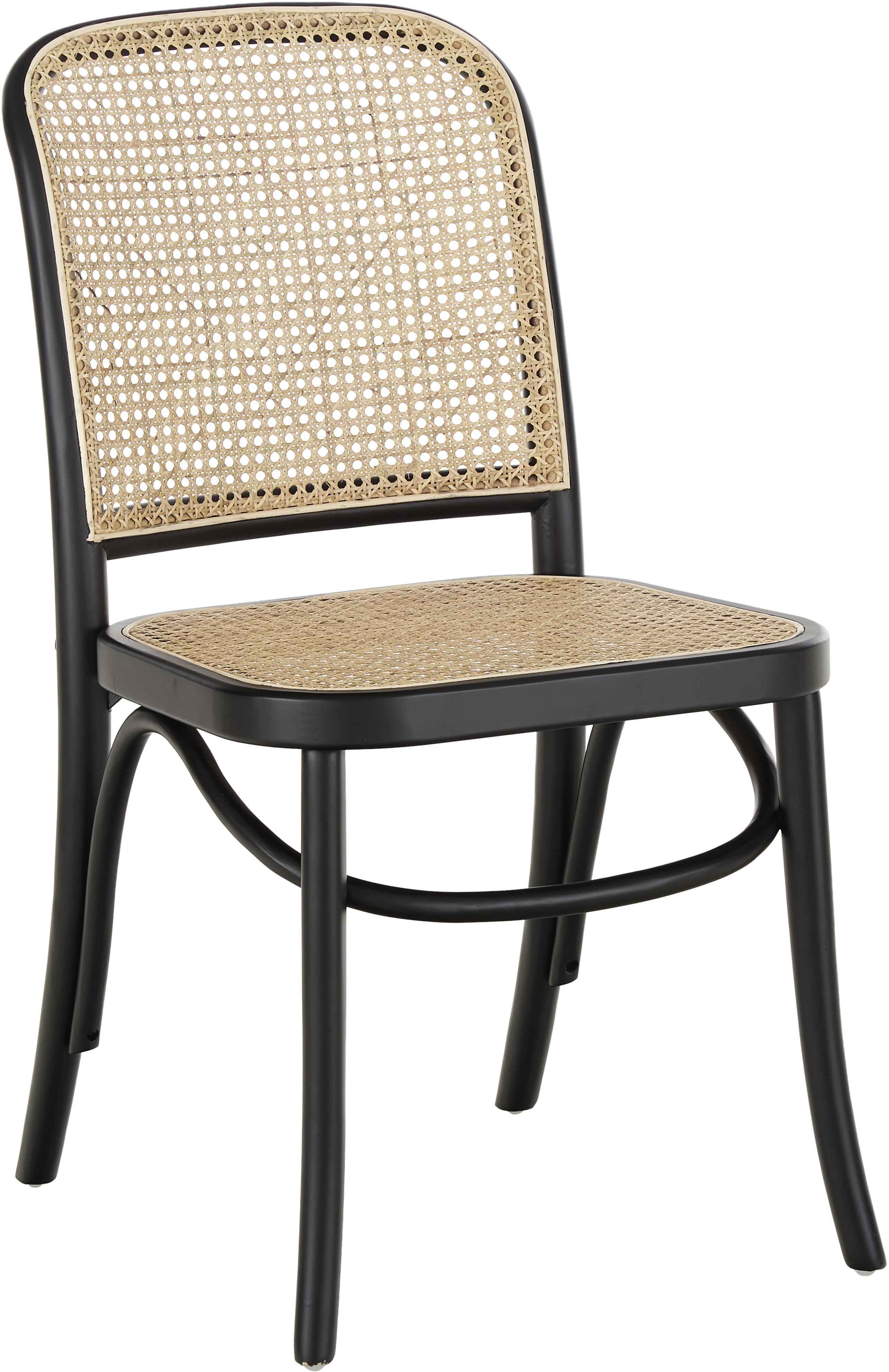 Holzstuhl Franz mit Wiener Geflecht, Sitzfläche: Rattan, Gestell: Massives Birkenholz, lack, Schwarz, B 48 x T 59 cm