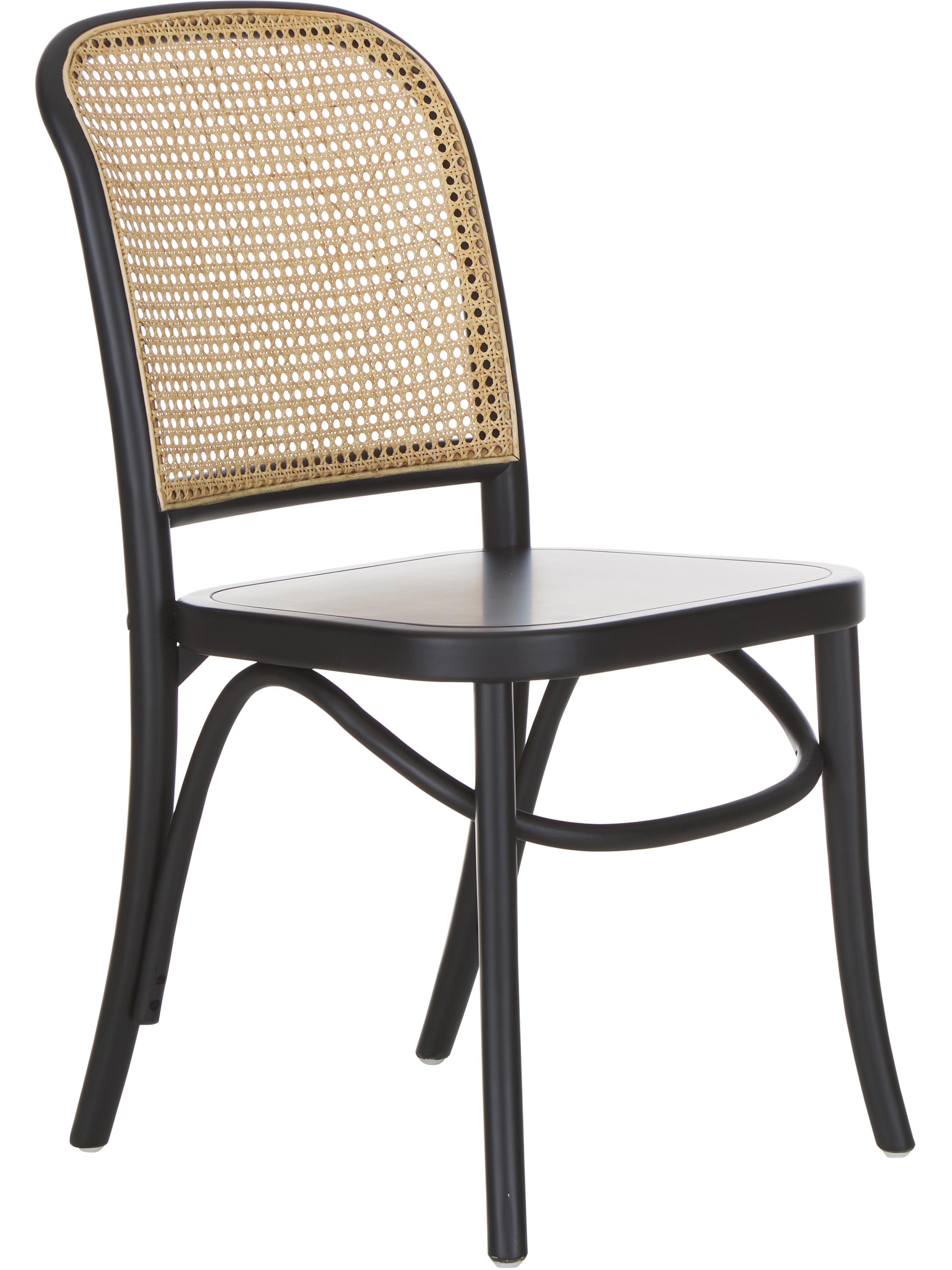 Stoel Franz met Weens vlechtwerk, Zitvlak: rotan, Frame: massief gelakt berkenhout, Zitvlak: rotankleurig. Frame: zwart gelakt berkenhout, B 48  x D 59 cm