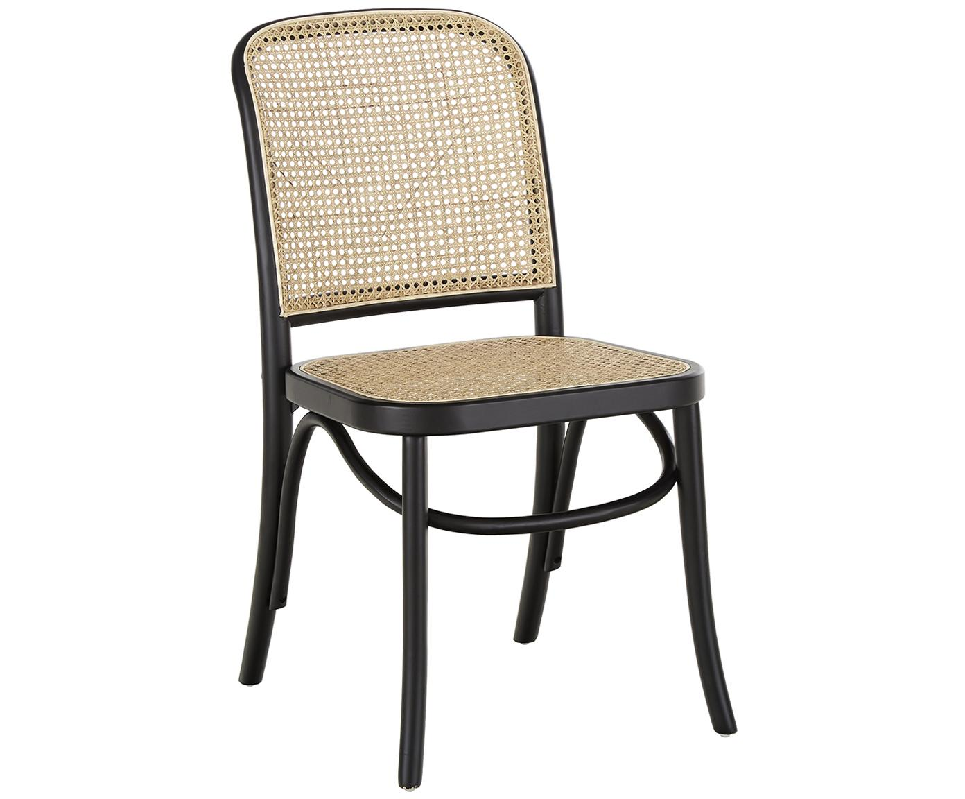 Drewniane krzesło z plecionką wiedeńską Franz, Stelaż: lite drewno brzozowe, lak, Czarny, S 48 x G 59 cm