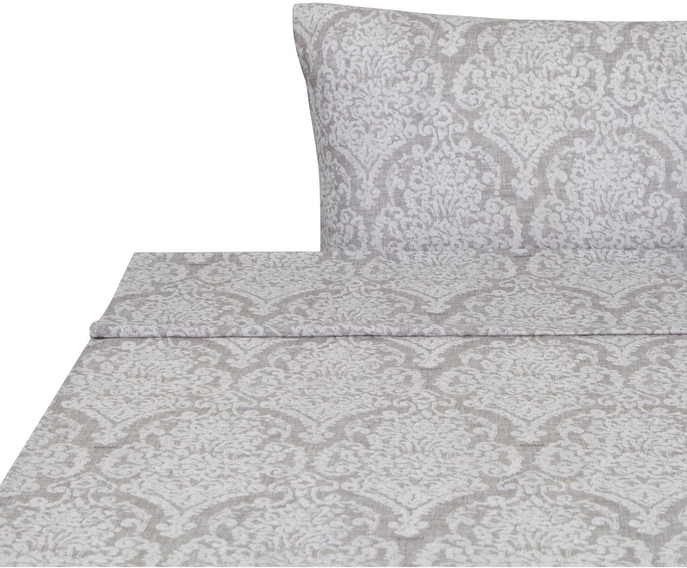 Sábana encimera Barroco, Algodón, Gris, gris claro, Cama 90 cm (160 x 270 cm)