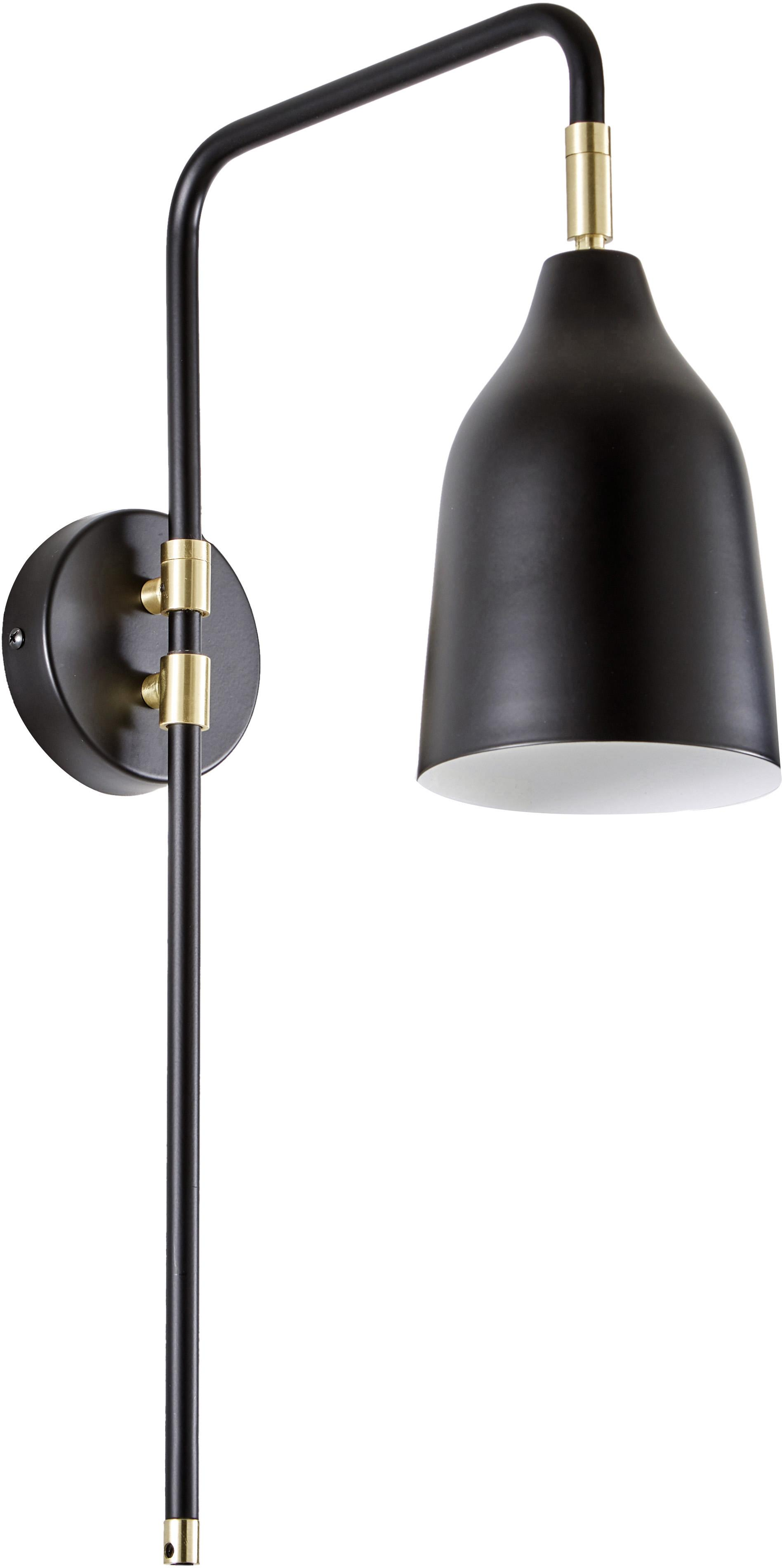 Wandlamp Mora, Zwart, goudkleurig, 12 x 50 cm