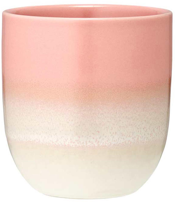 Becher Café mit Farbverlauf, 4 Stück, Steingut, Pink, Ø 8 x H 9 cm