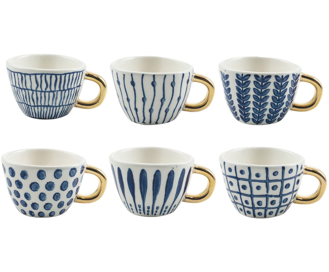 Koffiekopjes-set Masai, 6-delig, Keramiek, Blauw, wit, goudkleurig, Ø 7 x H 5 cm