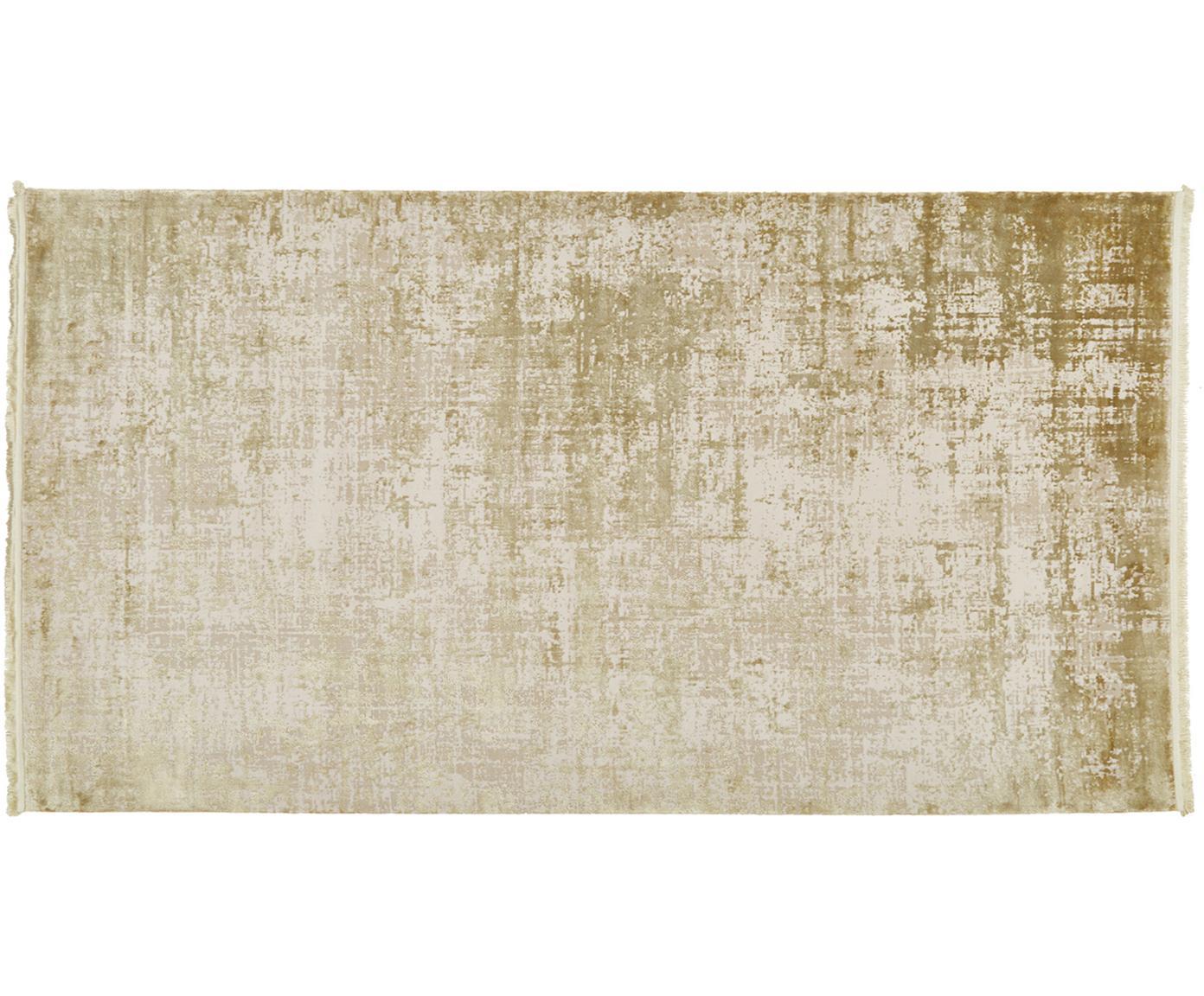 Alfombra con flecos Cordoba, estilo vintage, Parte superior: 70%acrílico, 30%viscosa, Reverso: algodón, Verde oliva, beige, An 80 x L 150 cm (Tamaño XS)