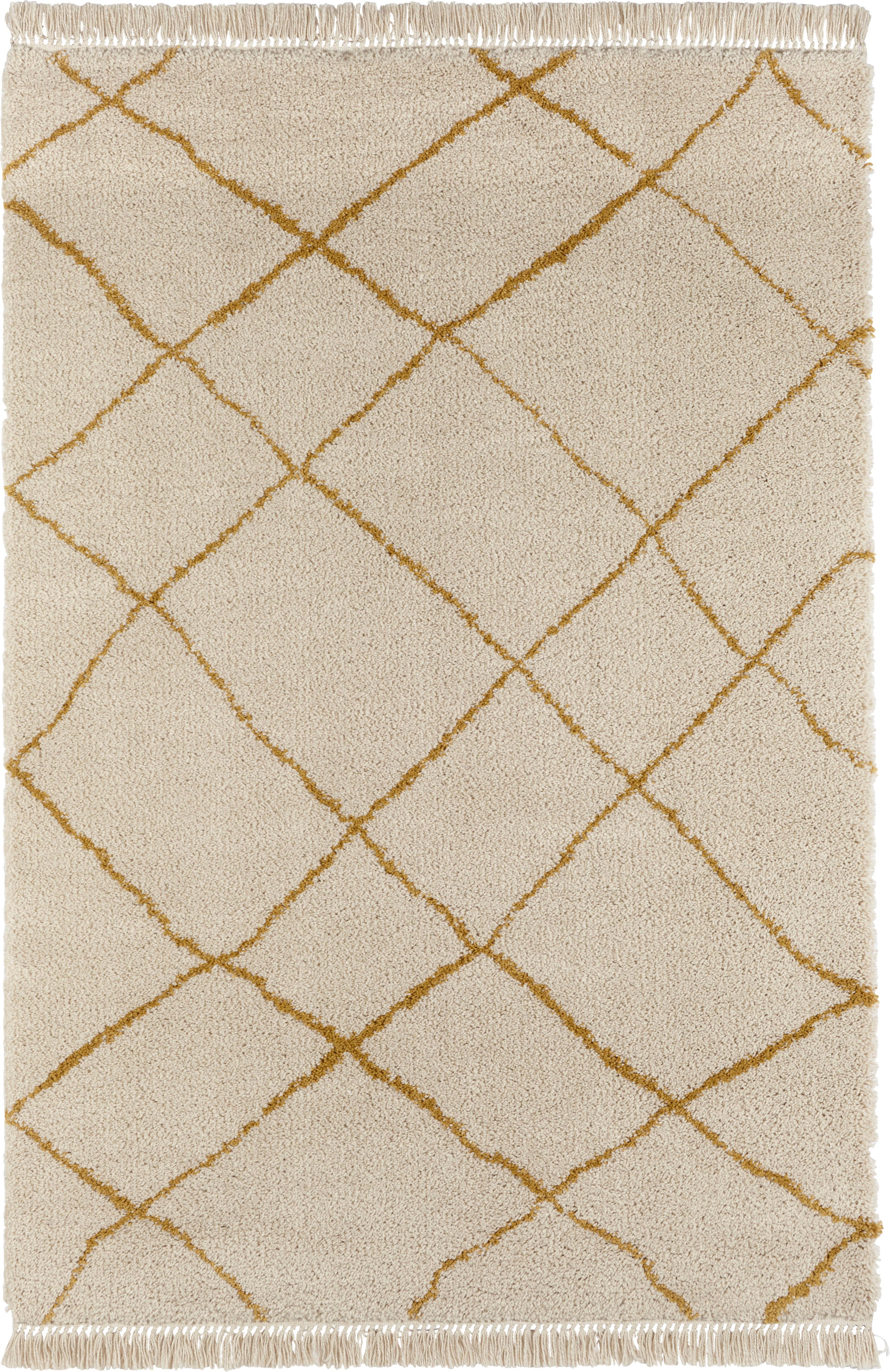 Pluizig hoogpolig vloerkleed Primrose in in crème kleur met ruitjesmotief, Crèmekleurig, goudgeel, B 120 x L 170 cm (maat S)