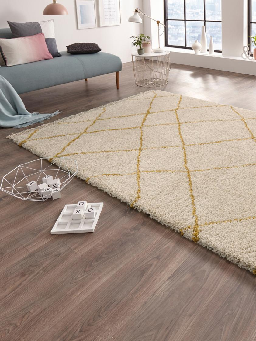 Flauschiger Hochflor-Teppich Primrose in Creme mit Rautenmuster, Creme, Goldgelb, B 160 x L 230 cm (Größe M)