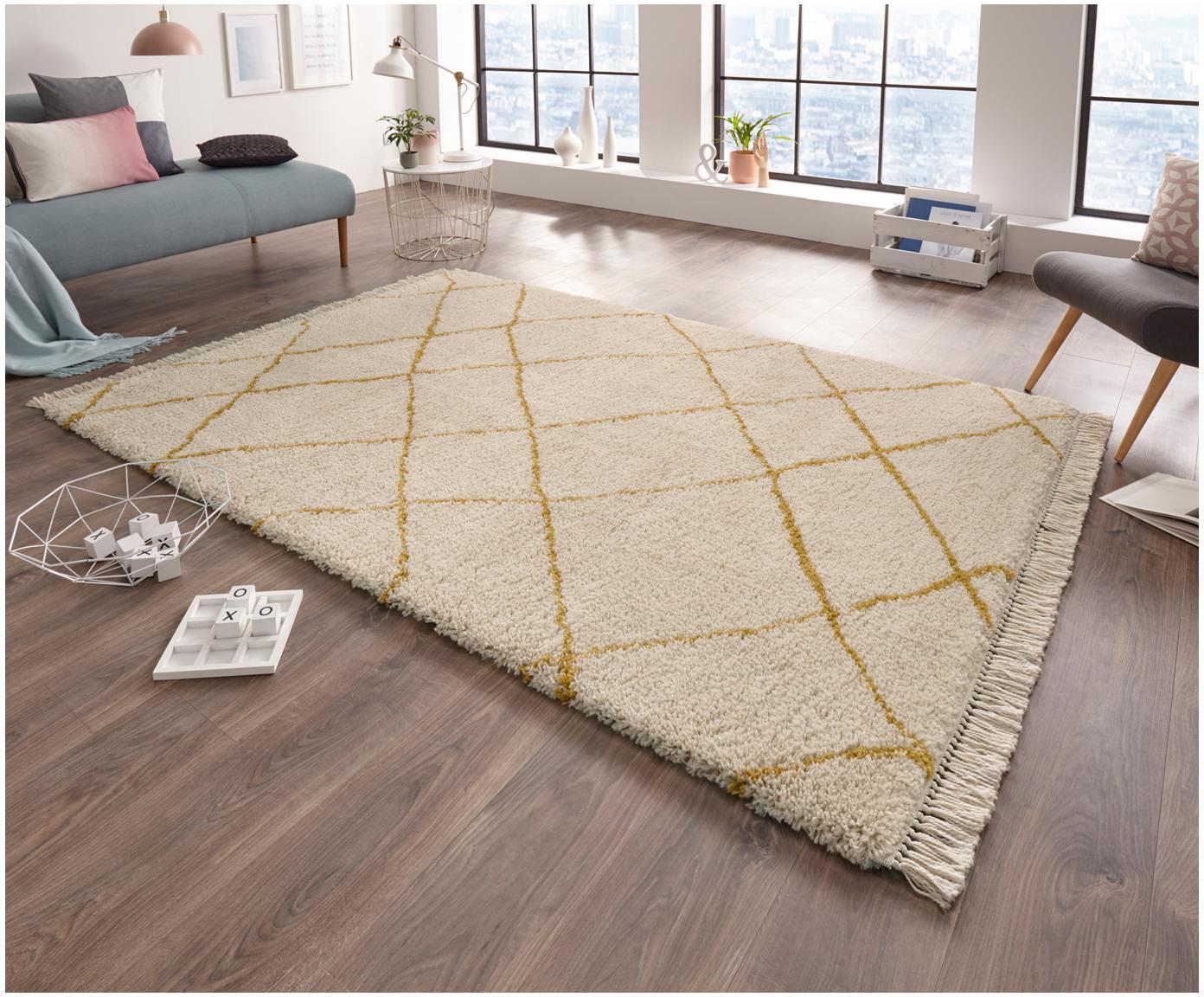 Puszysty dywan z wysokim stosem Primrose, Kremowy, żółtozłoty, S 160 x D 230 cm (Rozmiar M)